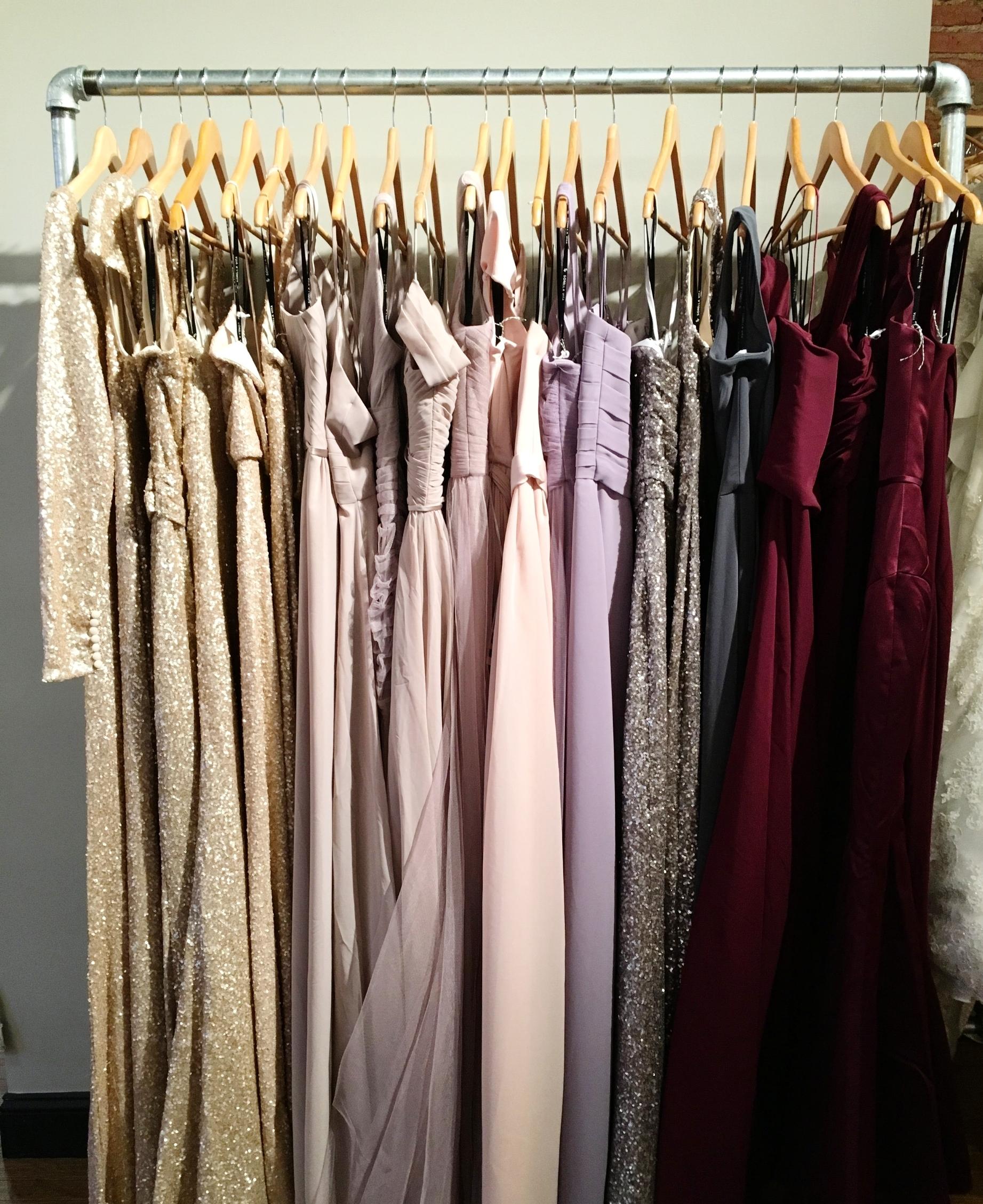 Selection of Sorella Vita bridesmaids dresses at White Traditions Bridal House.