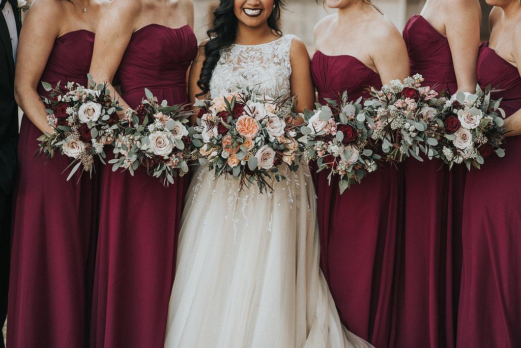 Coral ombre bridesmaids dresses