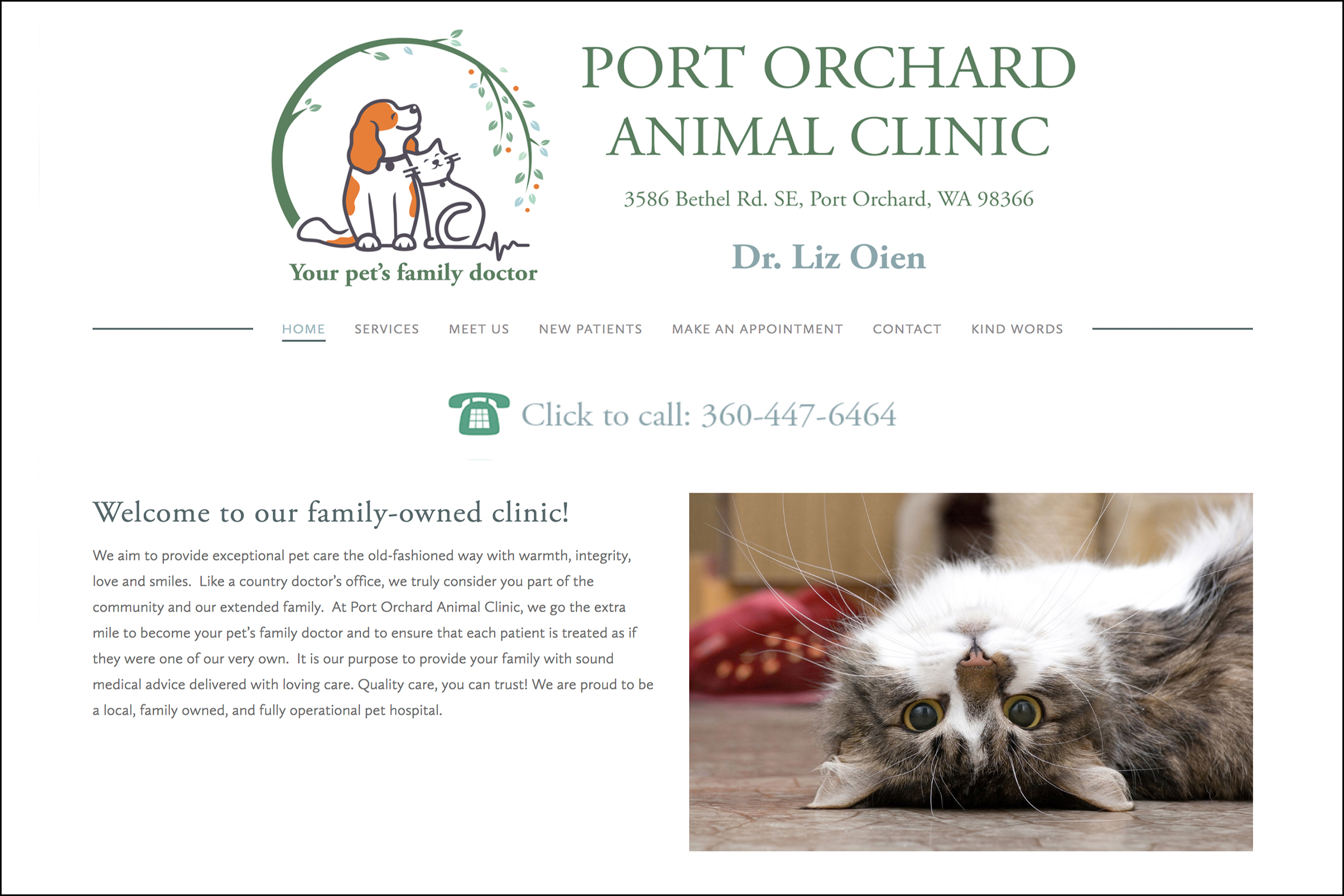 Port Orchard Animal Clinic, Web Design by Laurie Nelson