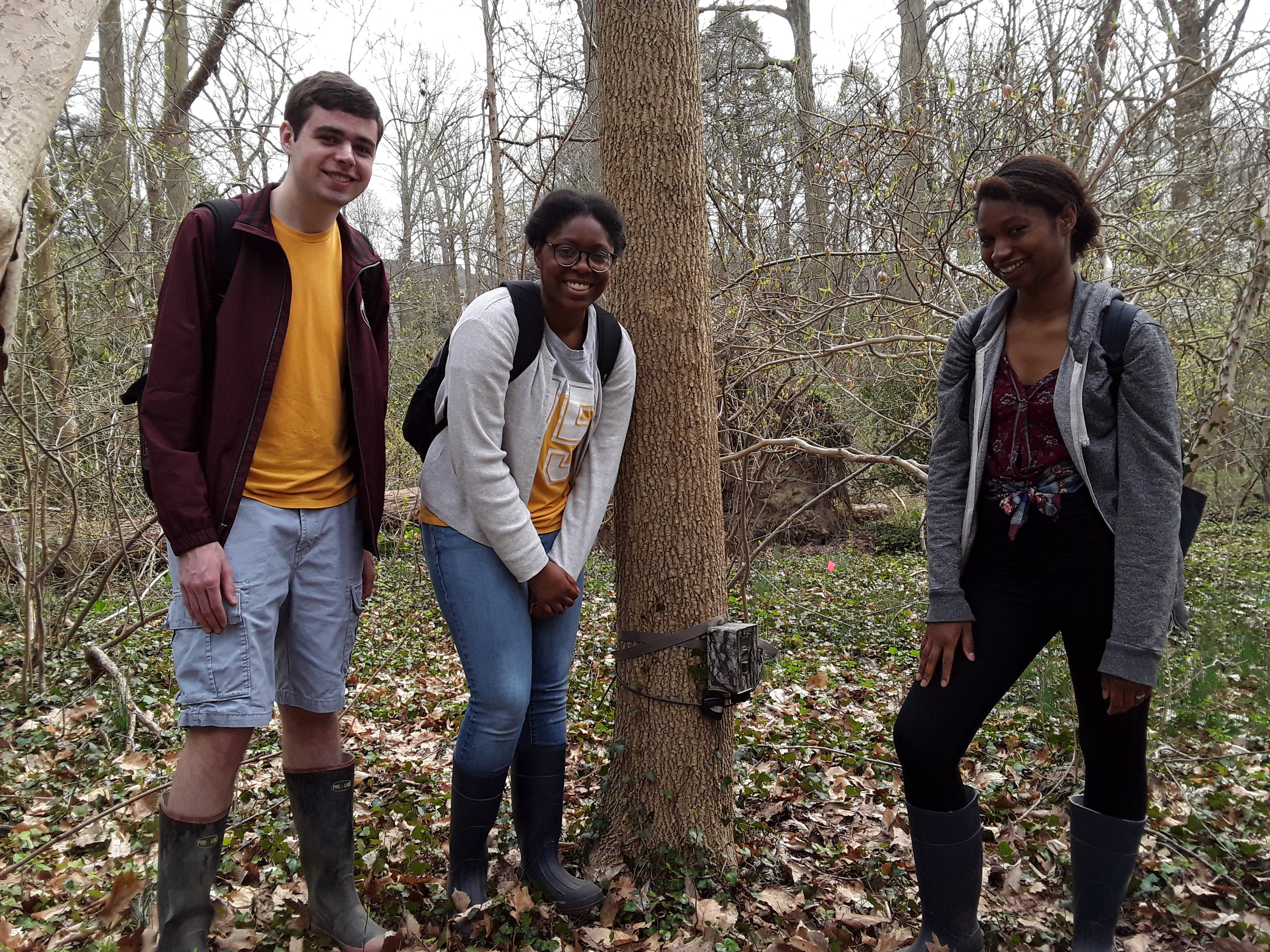 Swarthmore conservation biology student learn field and analytical skills (such as camera trapping) and observe and connect with local natural spaces.