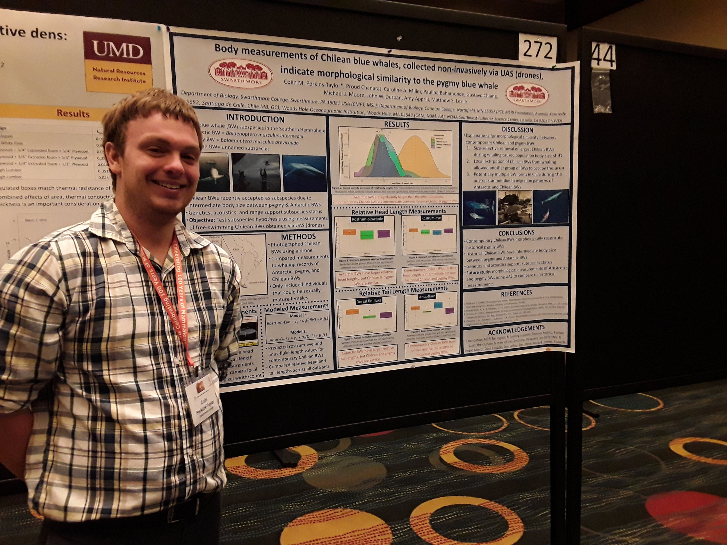 Colin Perkins-Taylor - Colin presented a poster at ASM on blue whale research he and I are currently writing up for submission. We used drones to measure Chilean blue whales and compare these measurements to whaling records to determine if the Chilean group is unique. Great Work Colin!!
