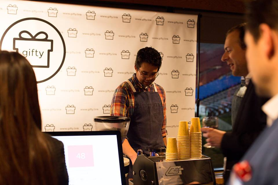 Monogram Coffee and Gifty doing a live demo at Startup Calgary Launch Party