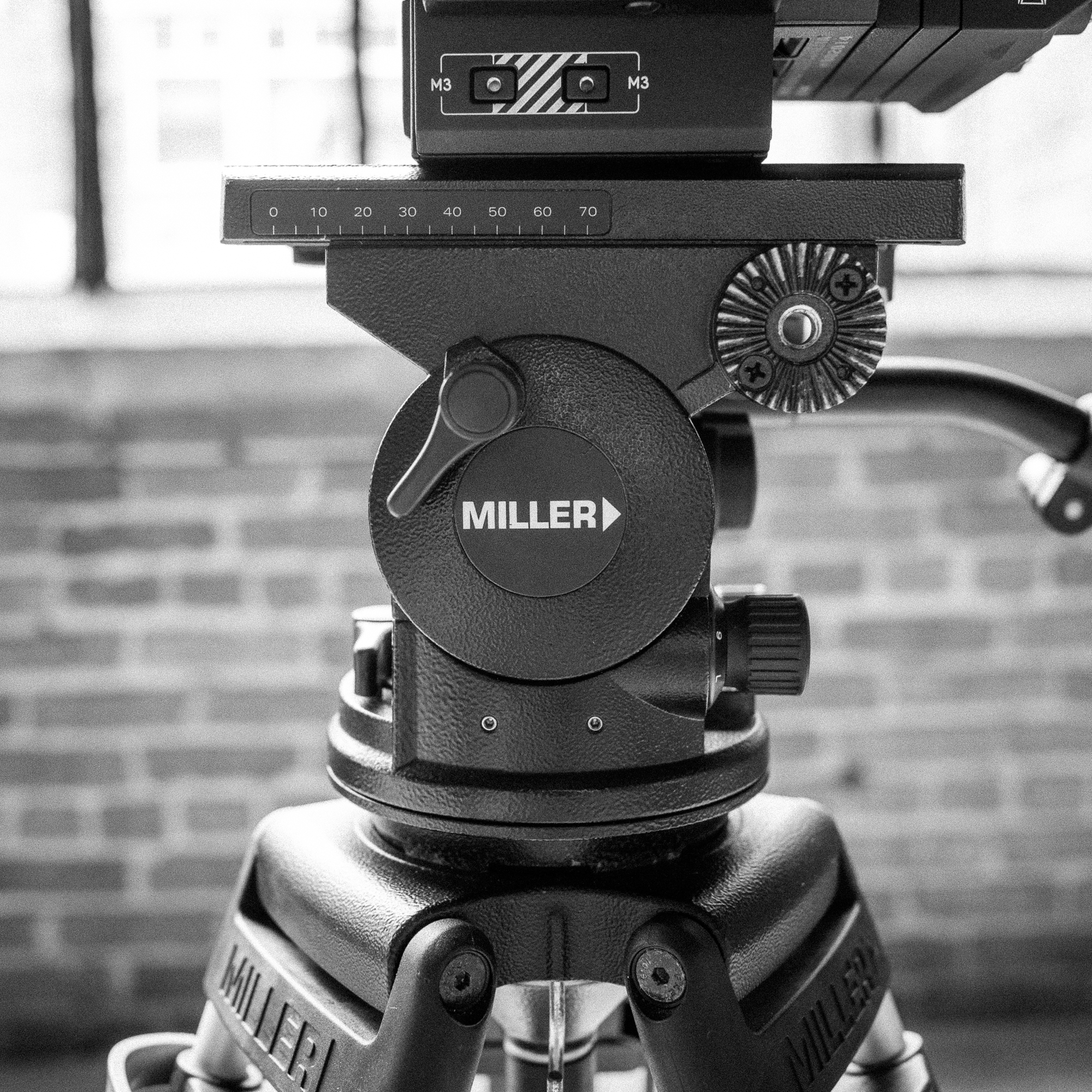 Miller Arrow 40 Tripod   80/day, 320/week, 60/day with studio   Our favorite tripod, it has excellent adjustable pan and tilt drag adjustments and can be tilted to a full 90deg.  Weight limit 35lb, 100mm bowl.   product info