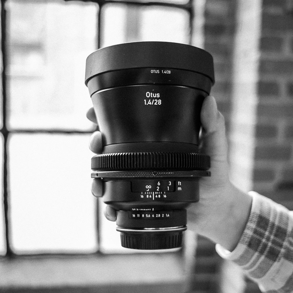 Zeiss Otus: Prime Lenses   Single Lens: 75/day, 300/week, 56/day in studio    Three Lens Kit: 200/day, 800/week, 150/day in studio   28mm f1.4, 55mm f1.4 or 85mm f1.4  All lenses have focus gears, Canon EF mounts, physical aperture rings, and 150mm front diameters.   product info