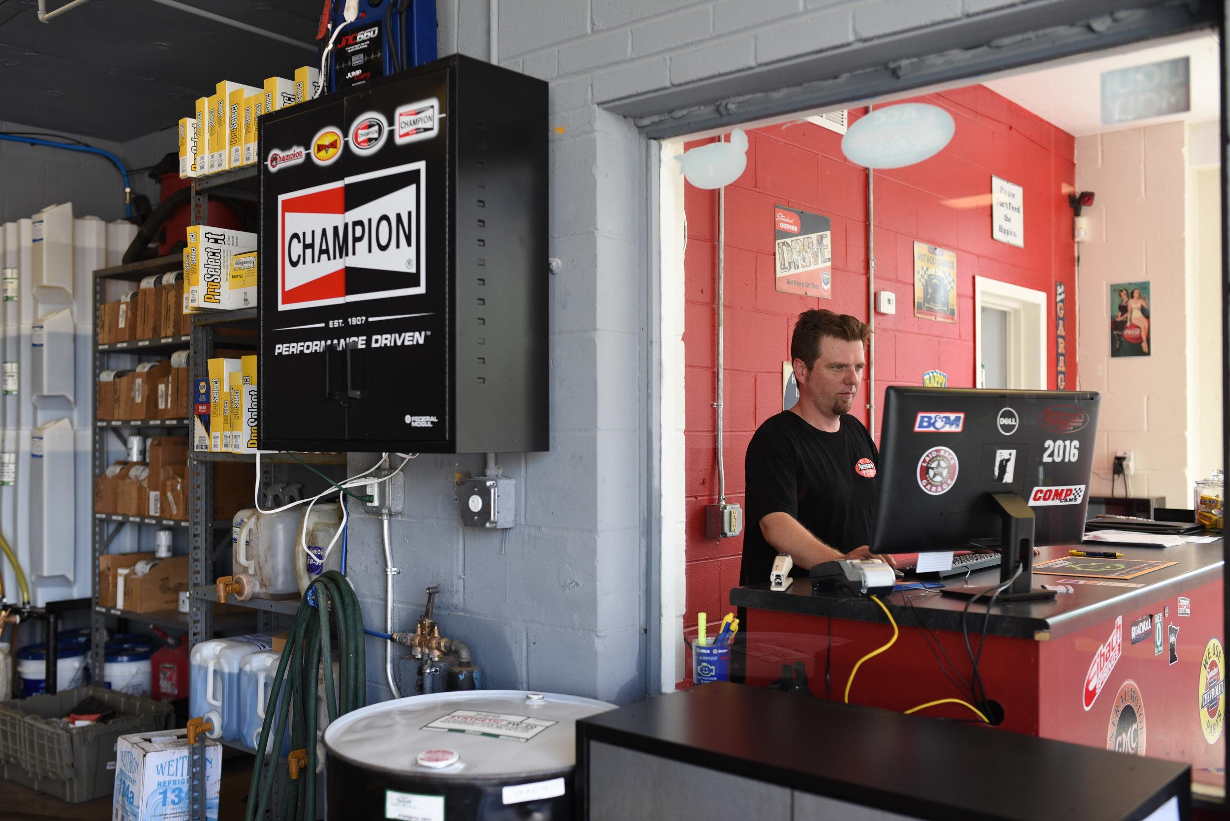 Nelson's auto repair shop in Minneapolis