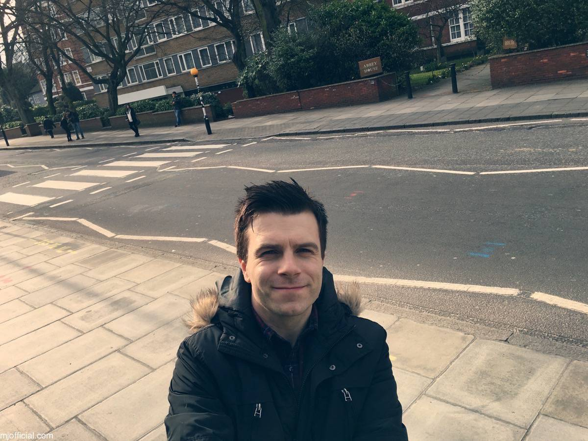 Image of Matt Johnson visiting Abbey Road recording studios in London, mastering two songs 'Get Over You' and 'Still in Love with you'from his 2017 debut album 'Chaplin Road'. Mastering engineer was Miles Showell.