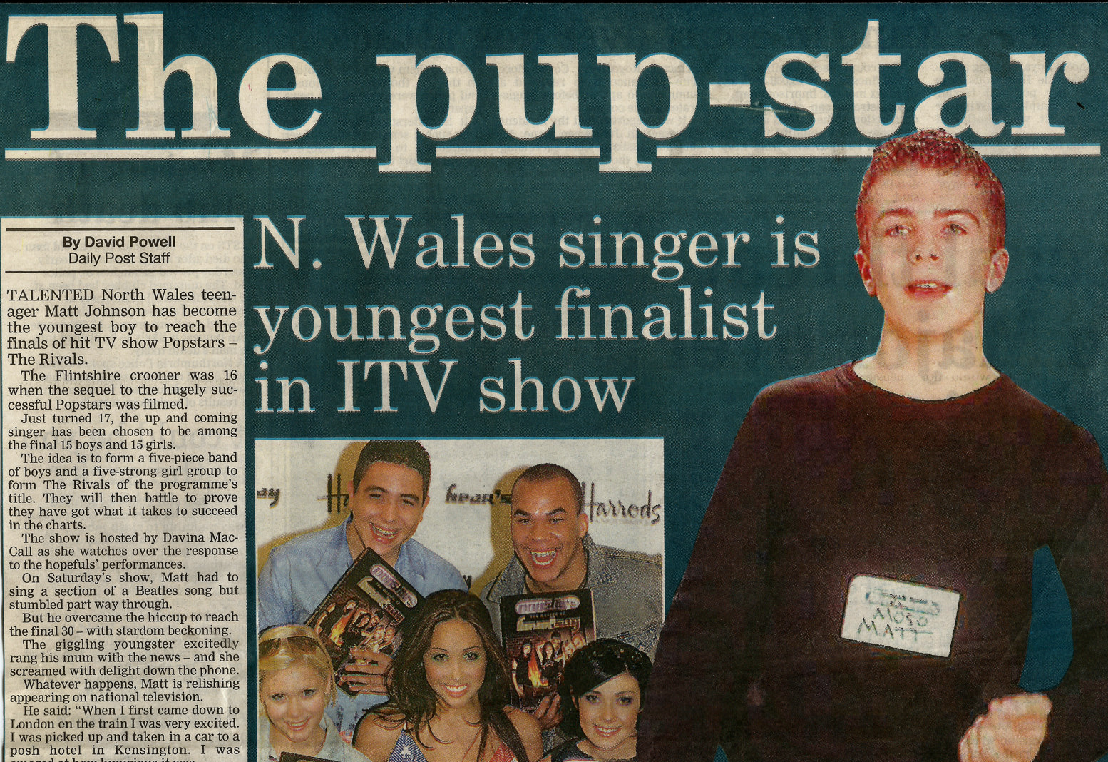 Image of news paper article featuring Matt Johnson in One True Voice