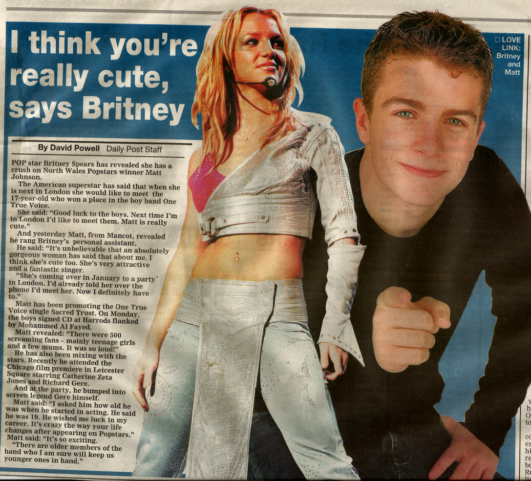 Newspaper article of Matt Johnson featuring a story about a Britney Spears comment.