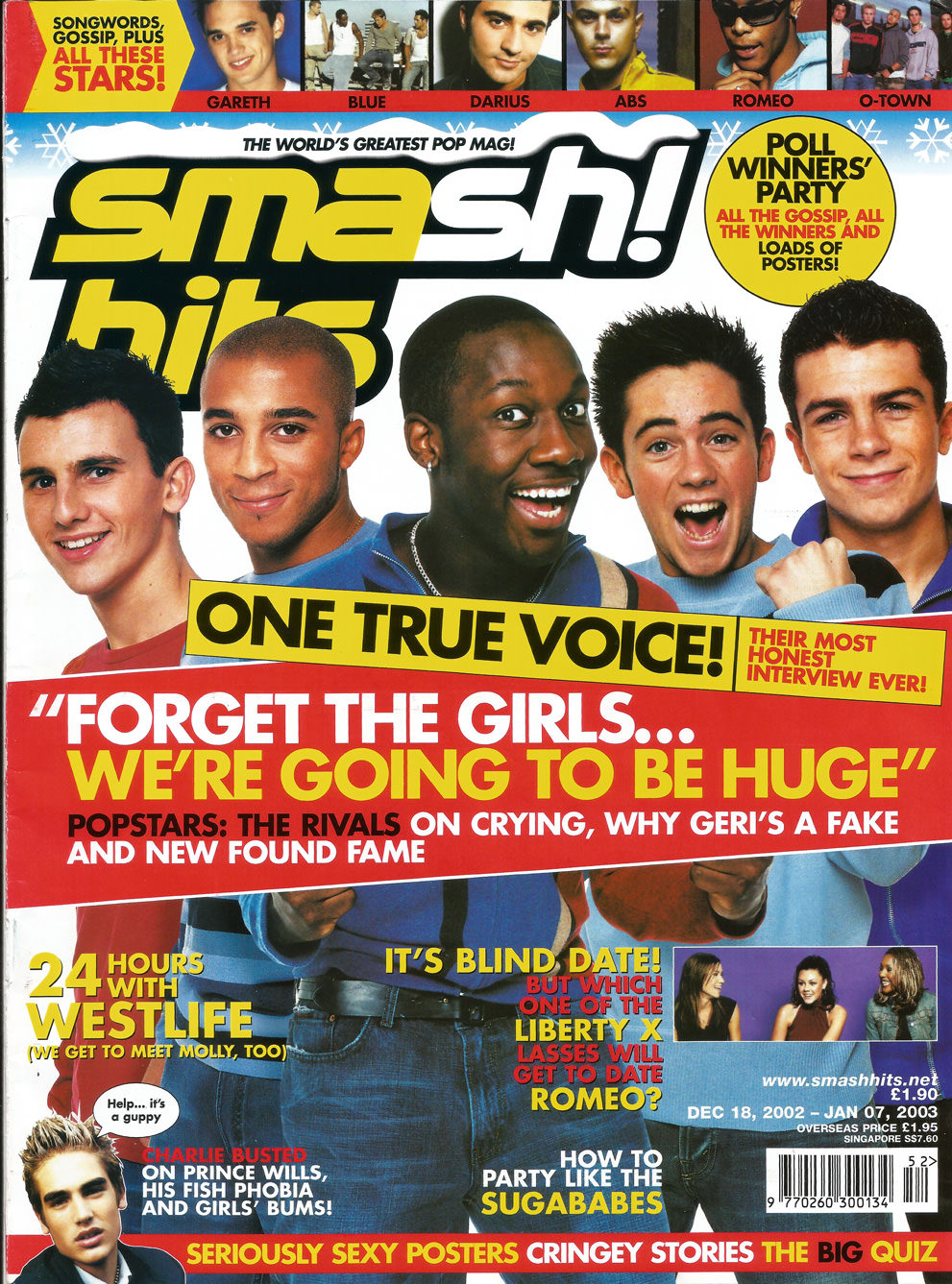 Image of One True Voice on the front cover of Smash Hits magazine