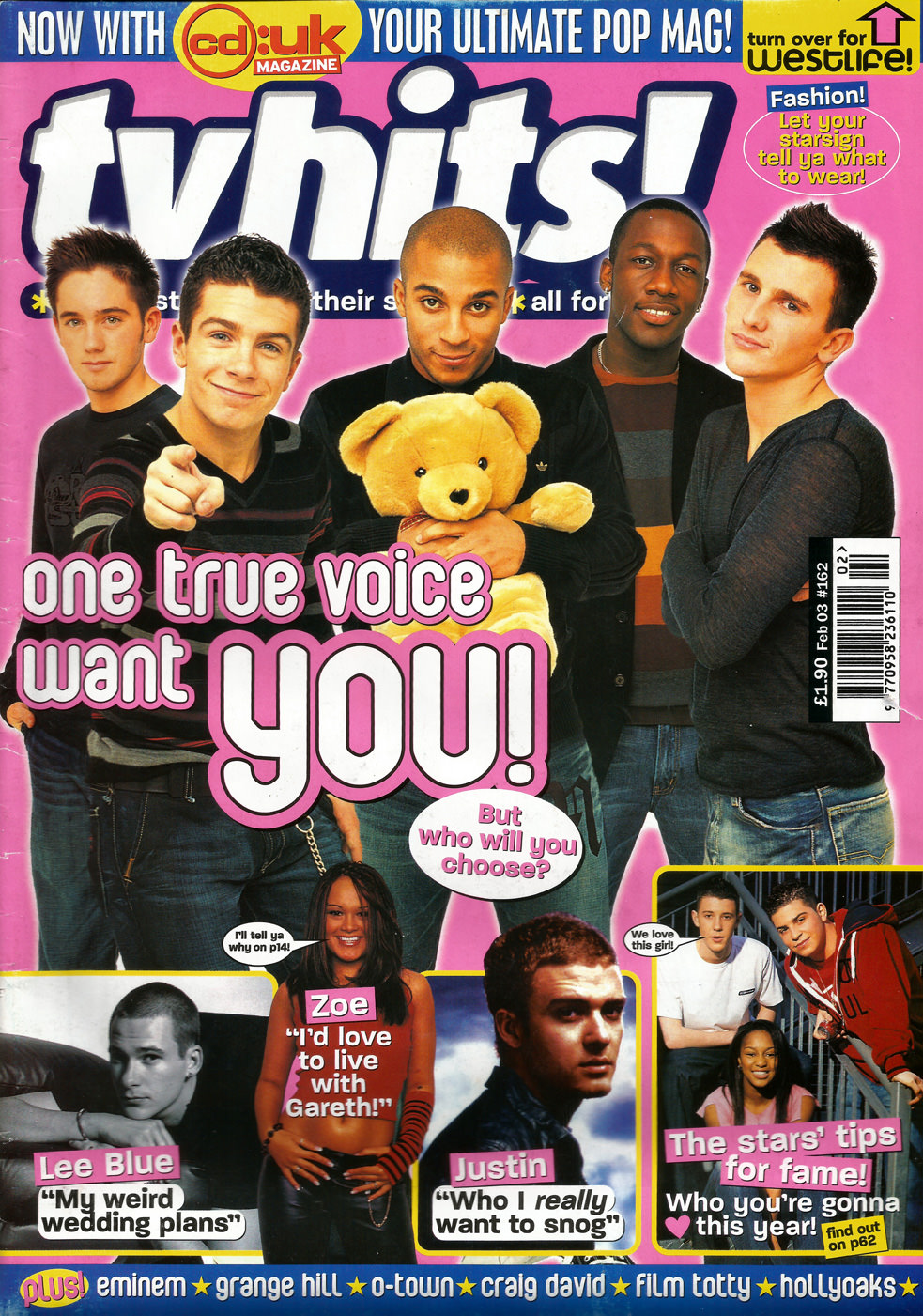 One True Voice on the cover of TV Hits magazine
