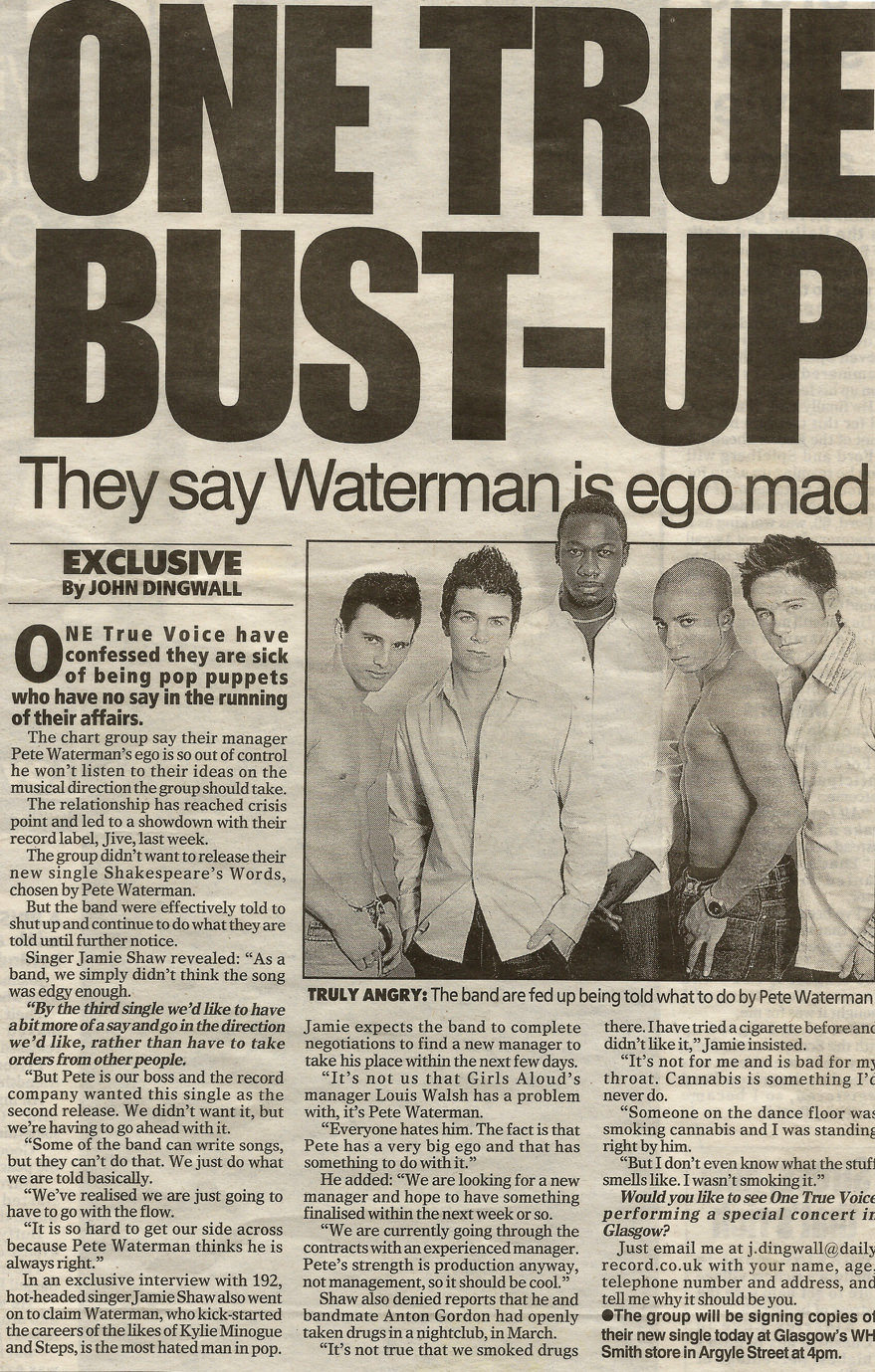 One True Voice bust up press article