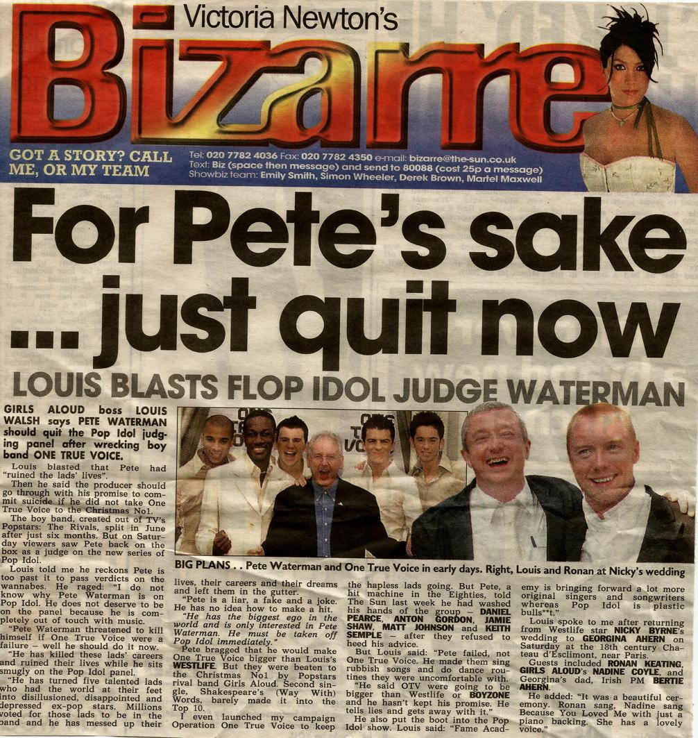 Press article about Louis Walsh slagging off Pete Waterman