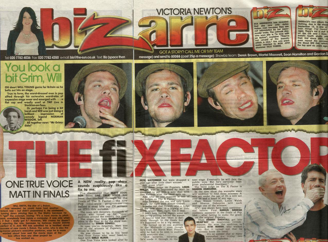 The X Factor Is fixed newspaper article featuring Matt johnson