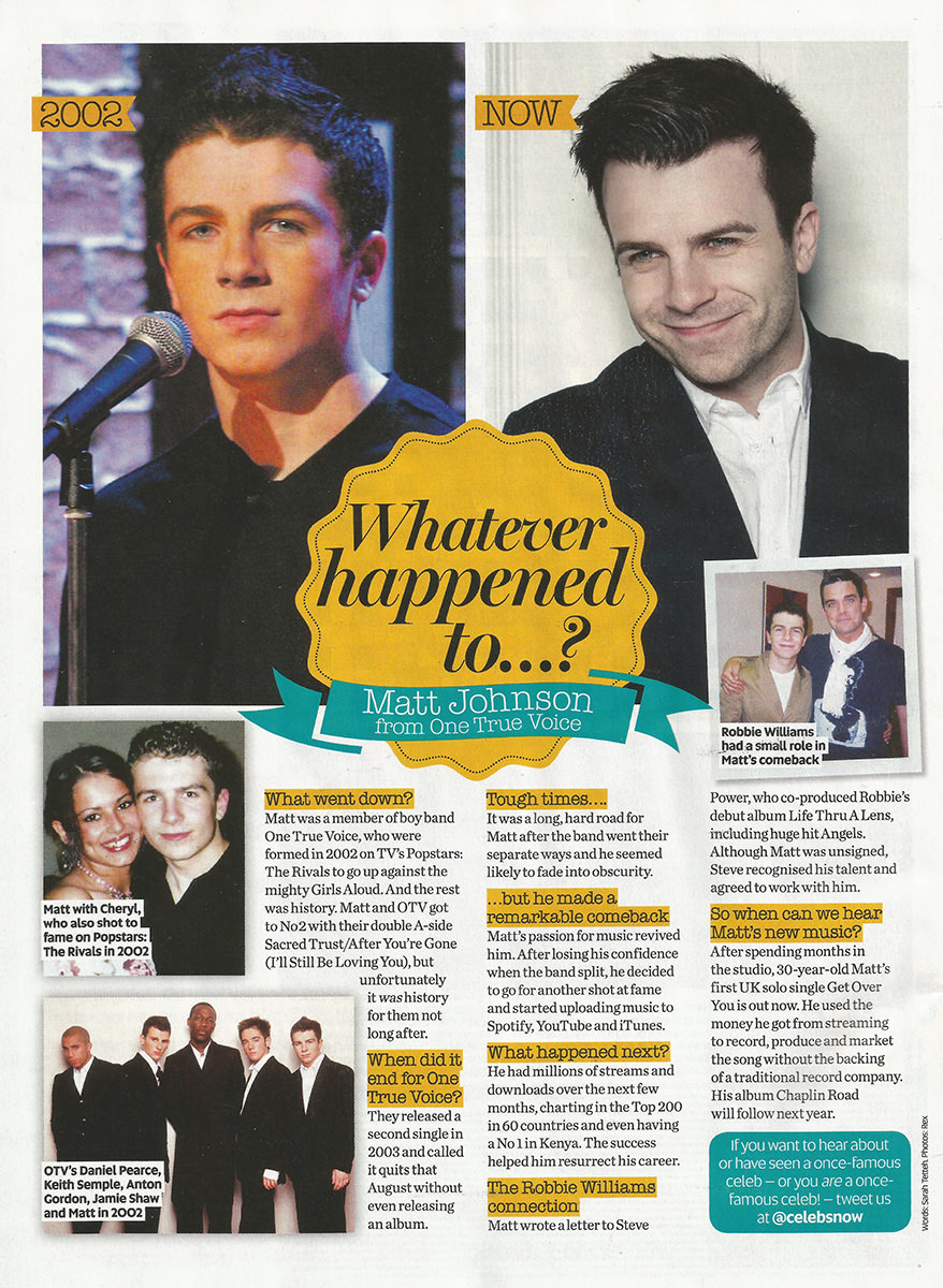 Matt Johnson in Now Magazine article about his come back and song Get Over You, summer 2016