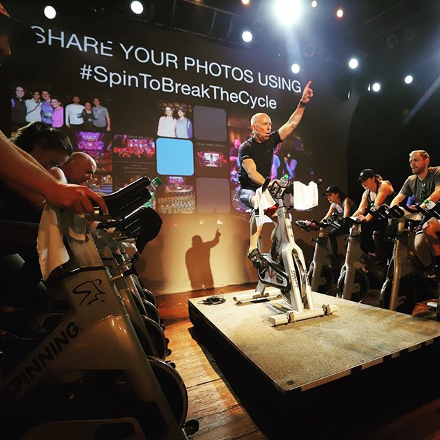 Today is the day that we #SpintoBreaktheCycle! Thanks to Bill Bower for starting the day off 🚴🏾‍♂️🚴🏼‍♀️