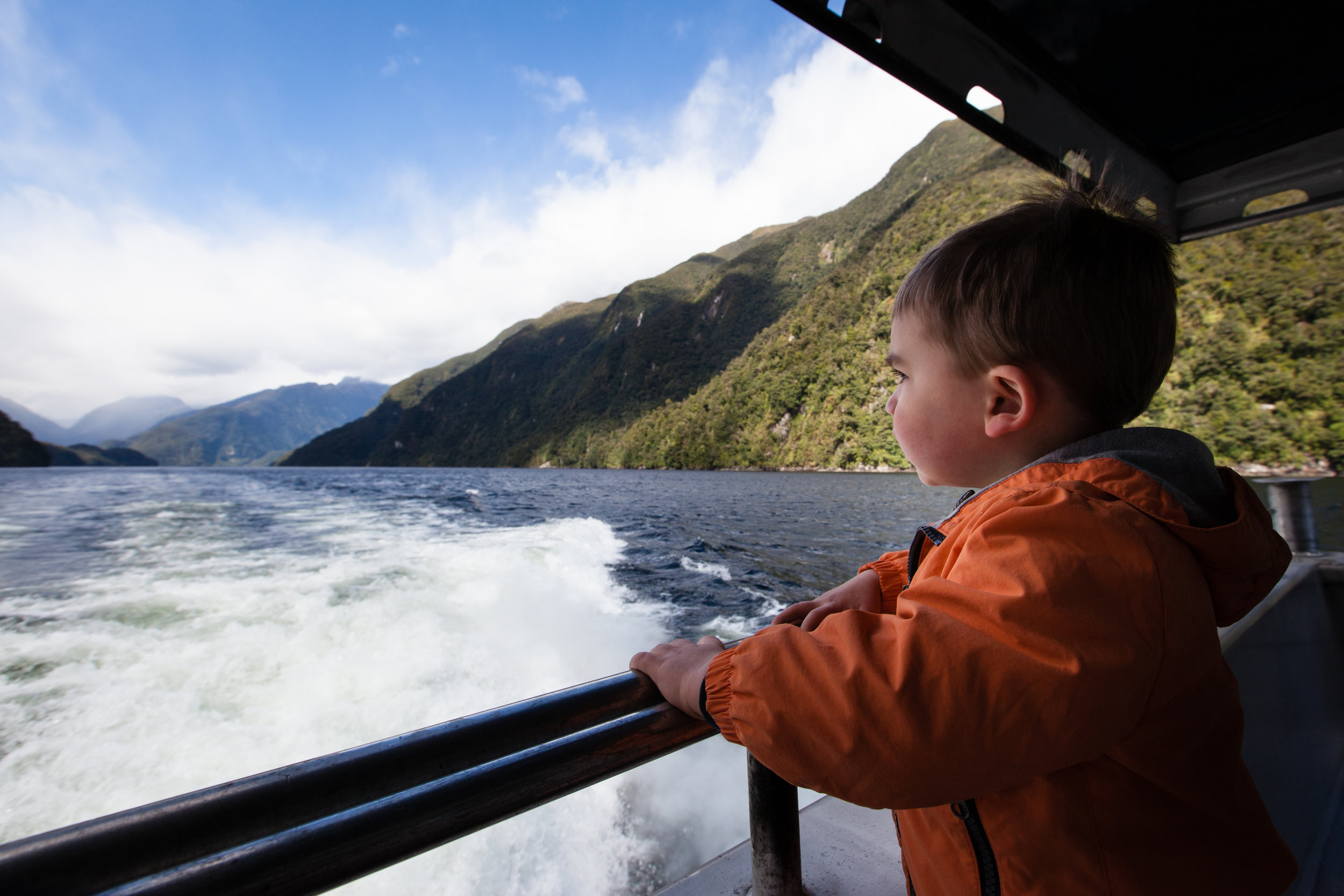 Enjoying the view from the boat in Doubtful Sound.