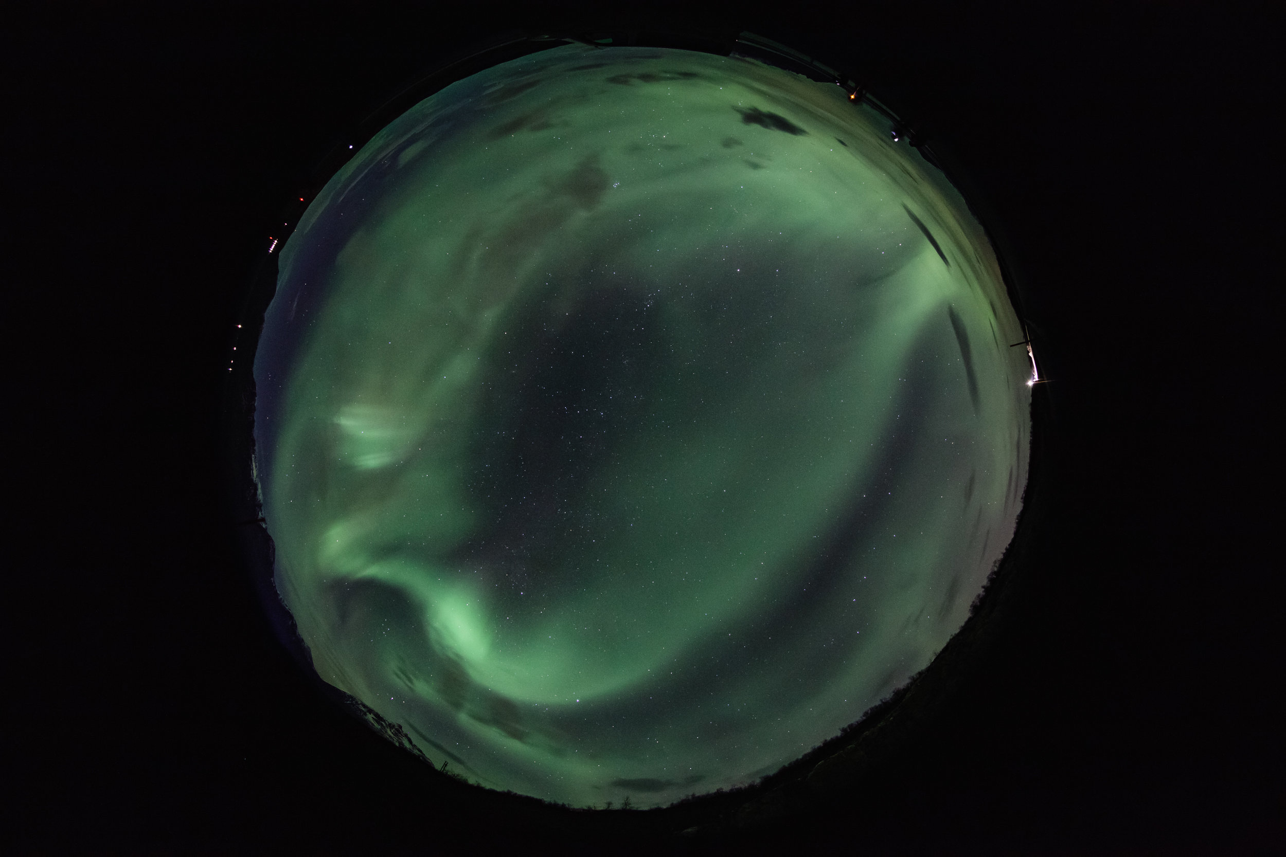 Circular fisheye image of the arctic sky.