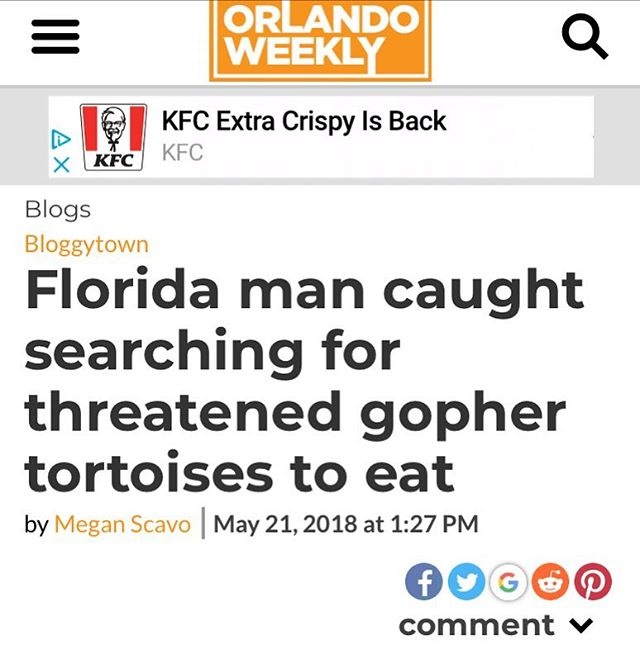 "I did the Florida man thing that the internet told me to do. This is the search result of ""Florida man (followed by my birthday)"". I'm also playing tonight at @strykerzkitchenandbar from 6-9 and then tomorrow @lanas_loungewaterloo with my darlin @lynnjackson161"