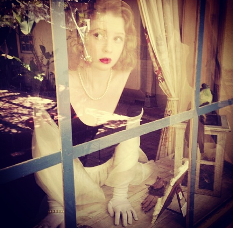 - Me at thirteen as Grace Kelly in Rear Window...