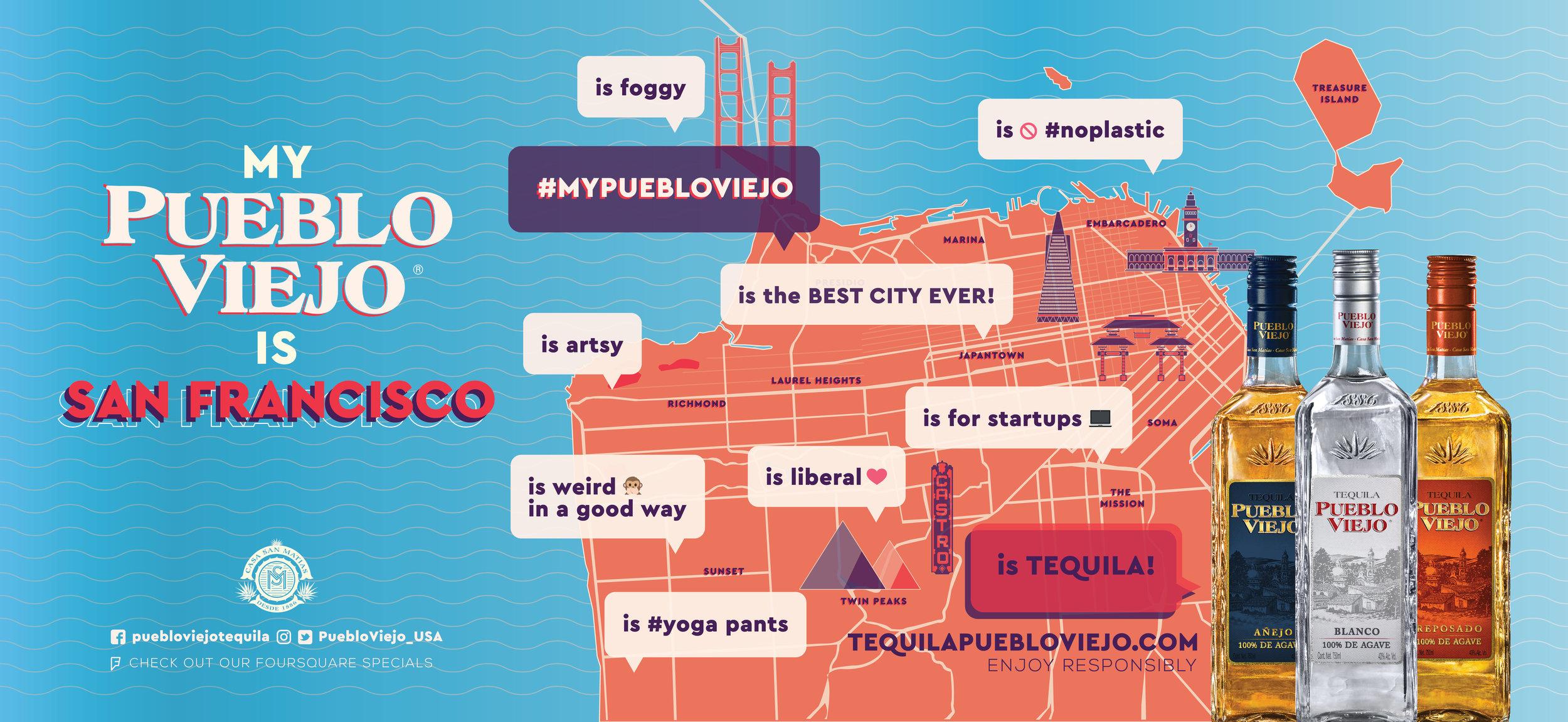 San Francisco map pueblo viejo tequila