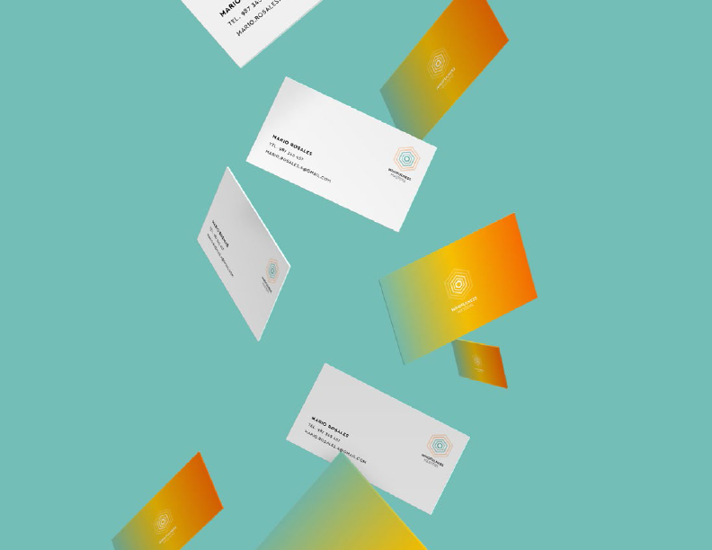 Colorful business cards graphic design