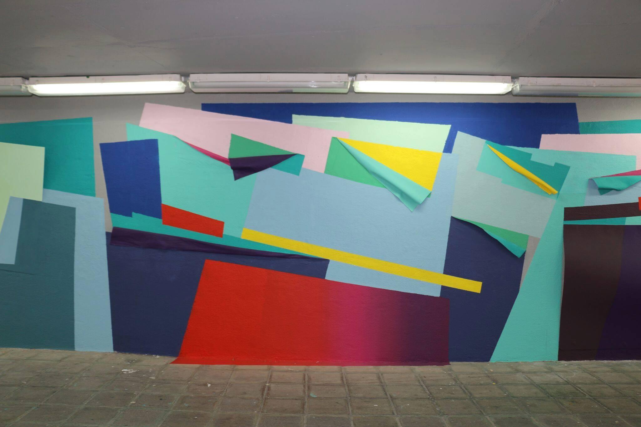 Mural art om tunel in Monterrey