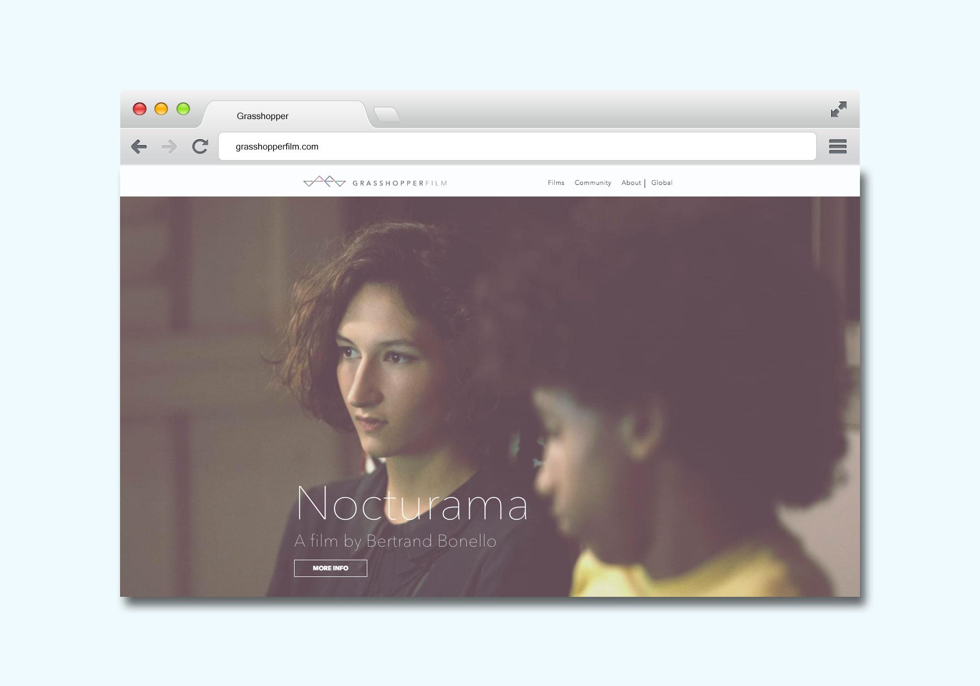 Screenshot of a minimalist website design for filmaker