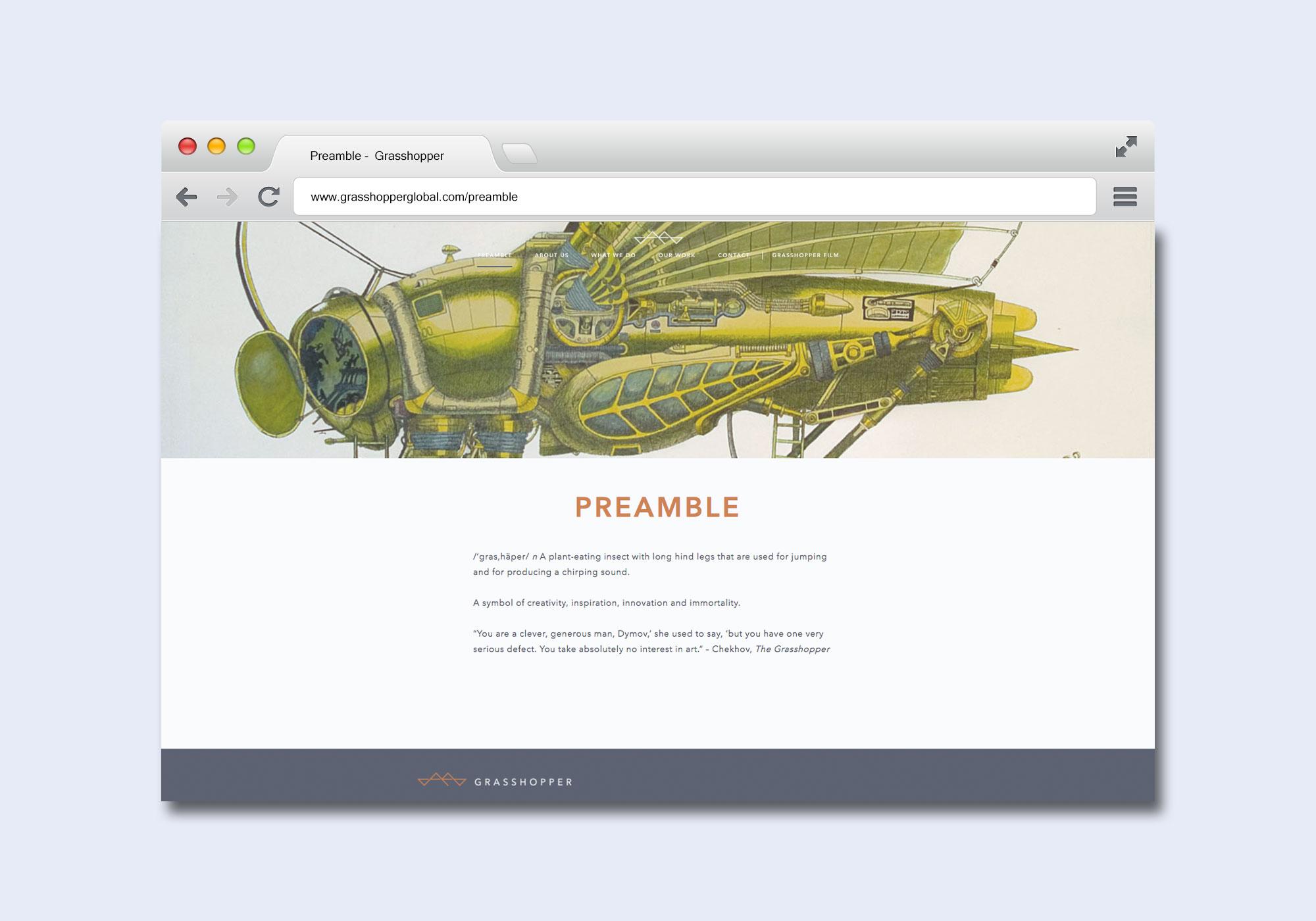 Preamble page design for Grasshopper Global