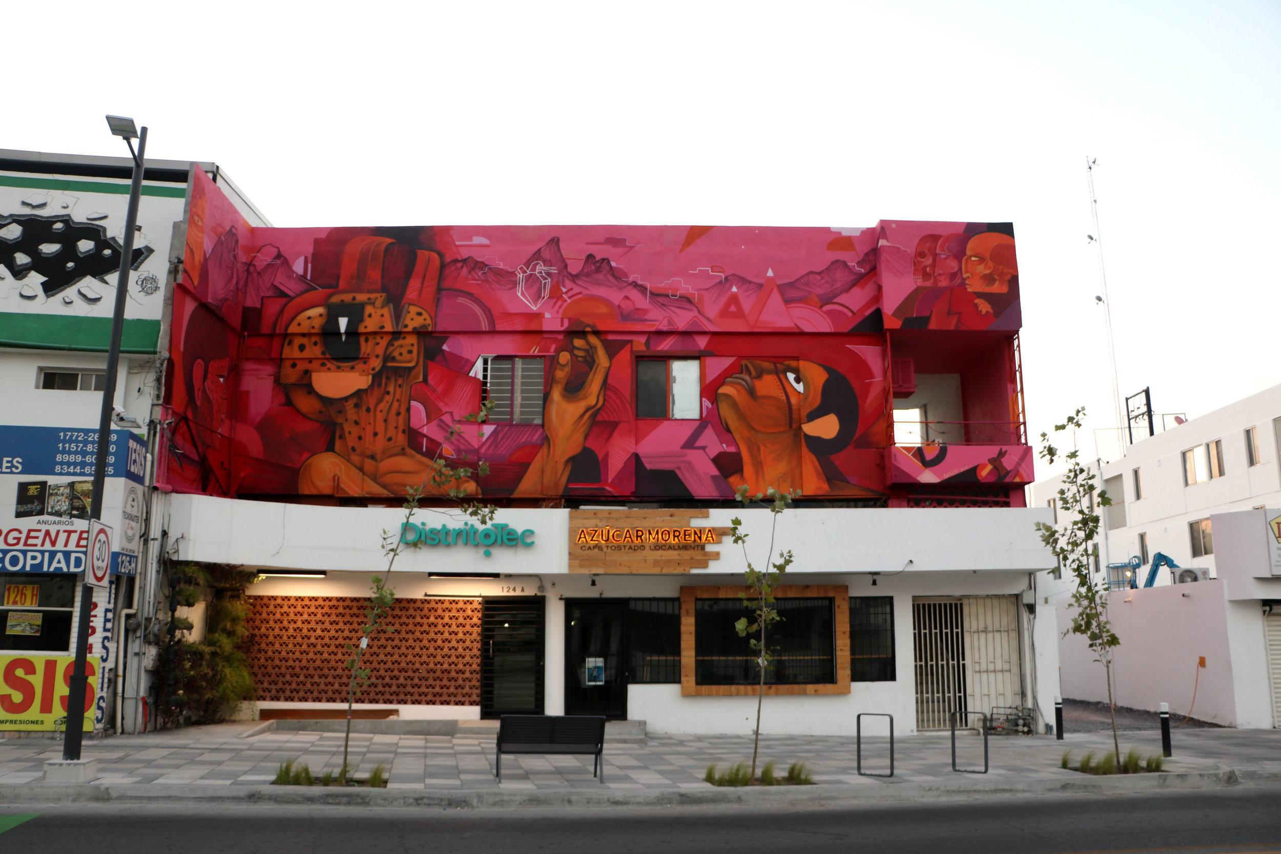 Mural art by Saner for Distrito Tec