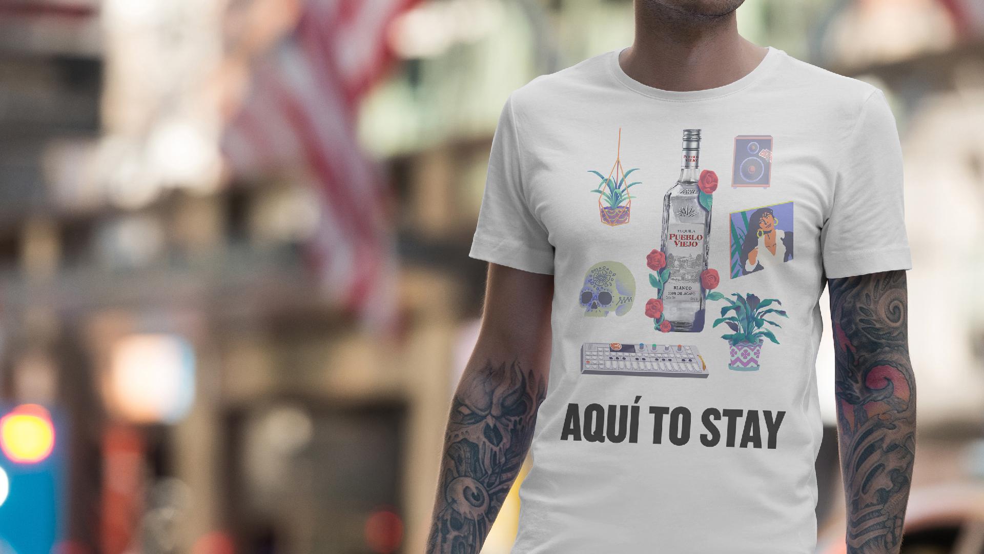 T-shirt graphic design tequila pueblo viejo campaign