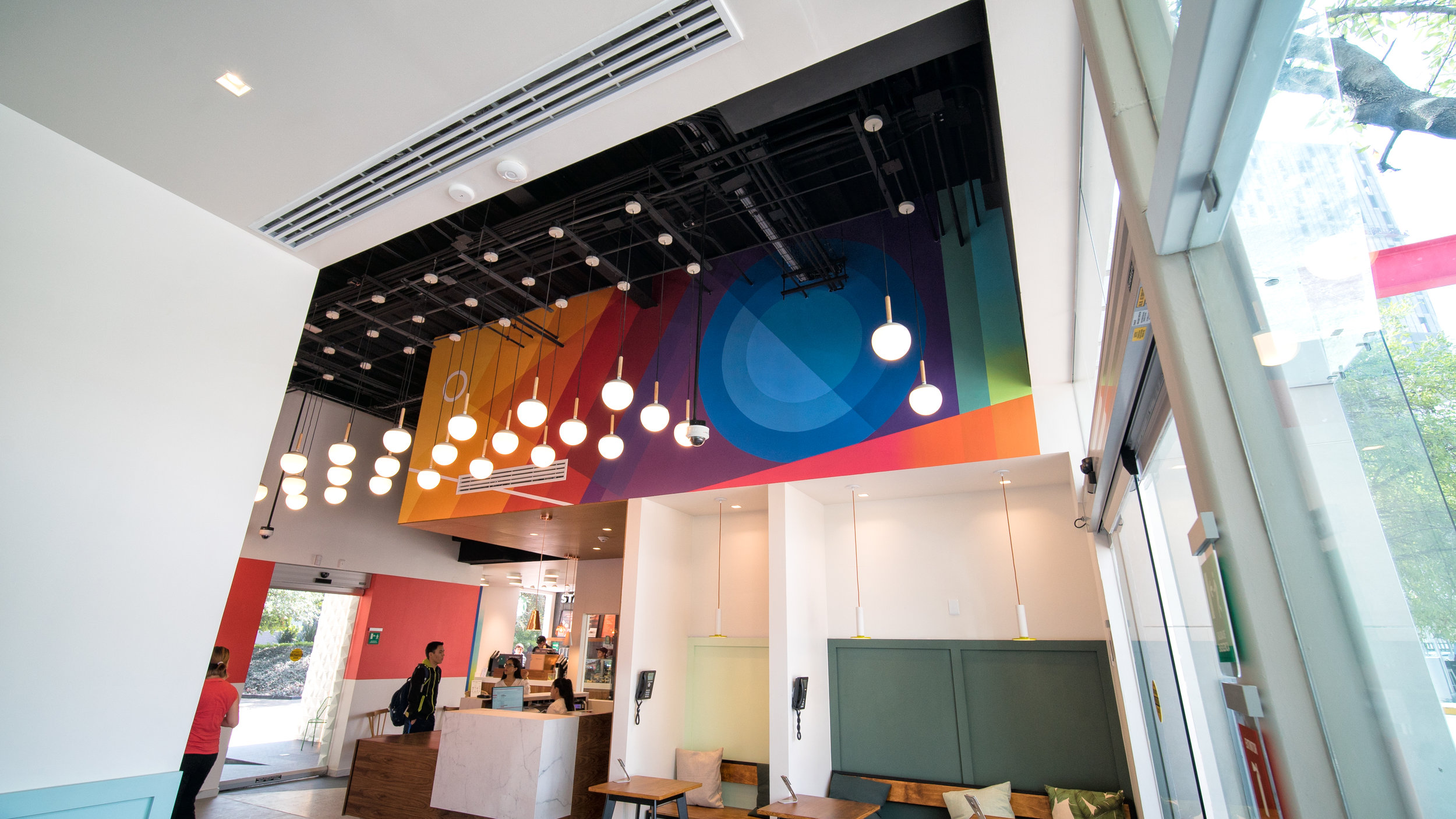 Colorful Mural art in new bank branch