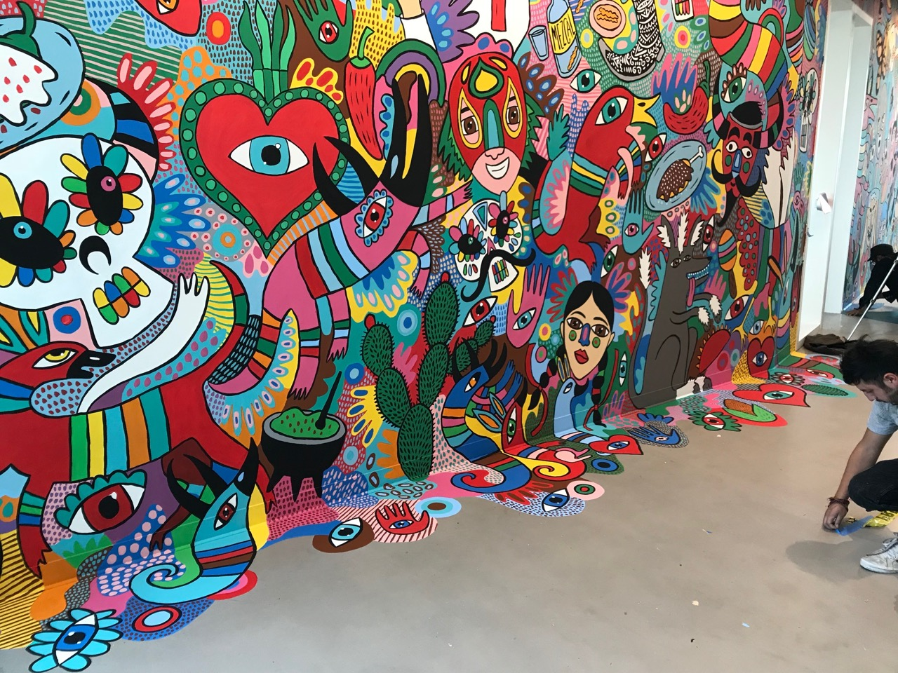 Cocolvu art mural at Facebook office Mexico City