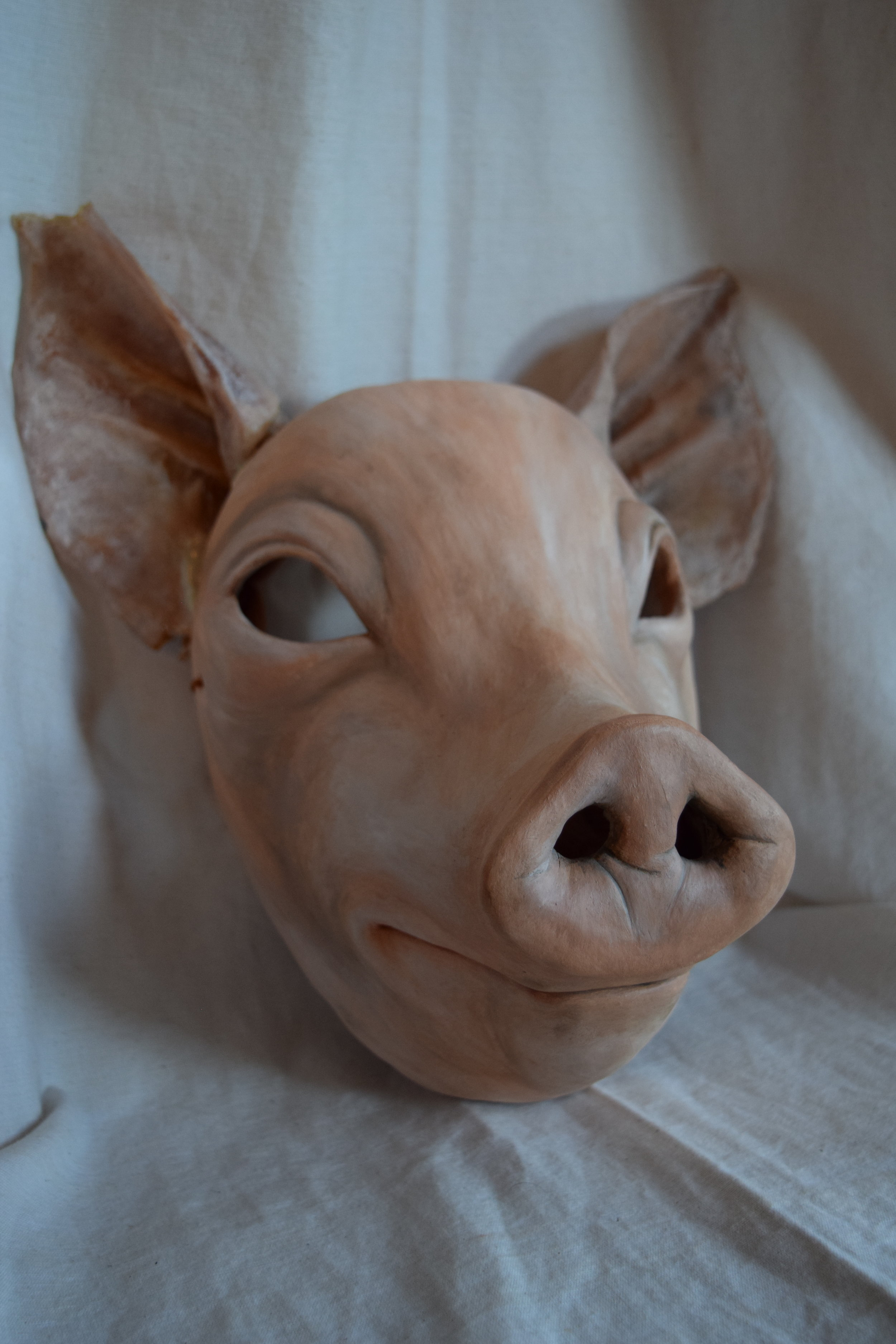 Hog, 2015. Clay, leathered pig ears, acrylic  Sold