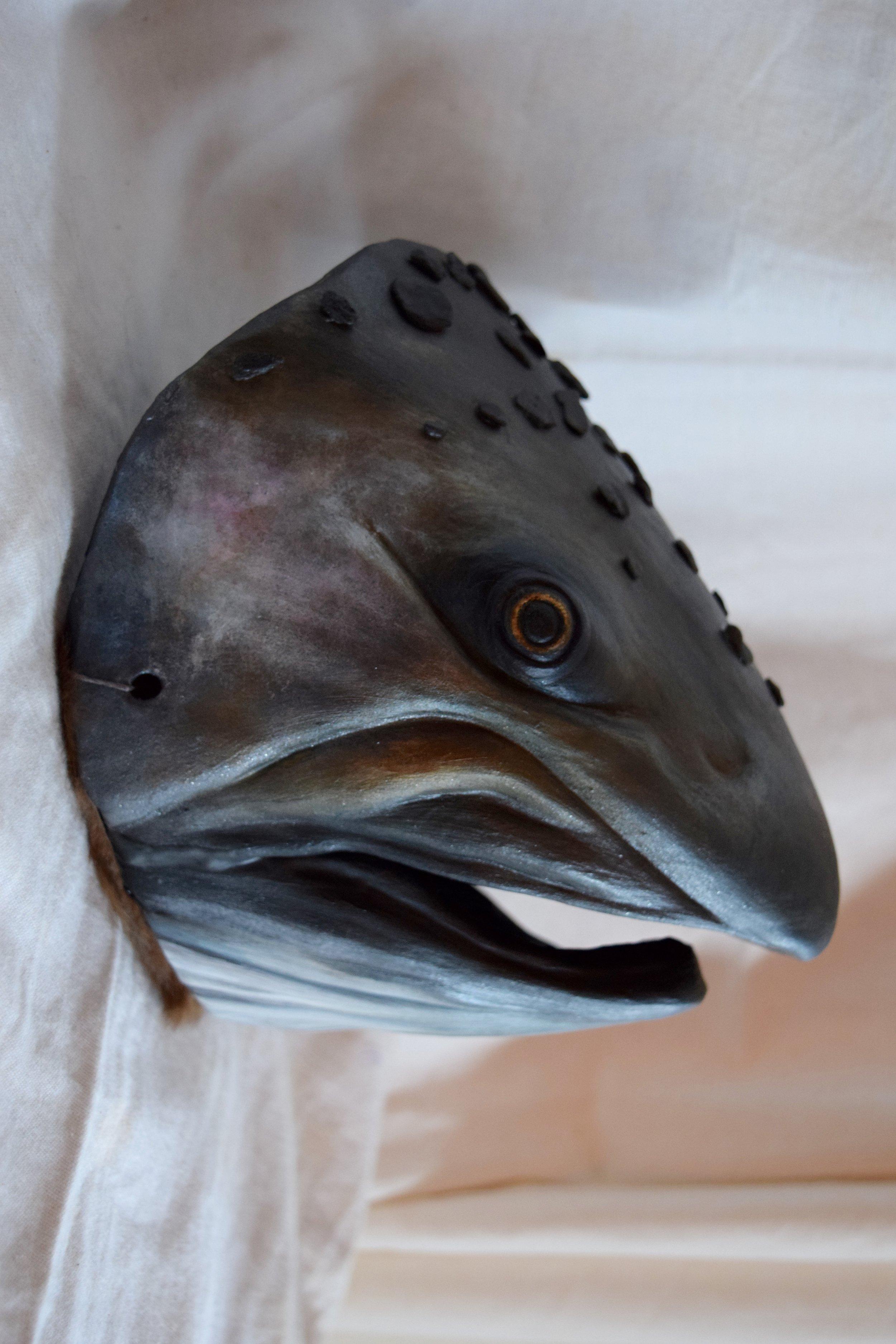 Coho Salmon, 2015. Clay, Lagunitas Creek stones, acrylic  Sold
