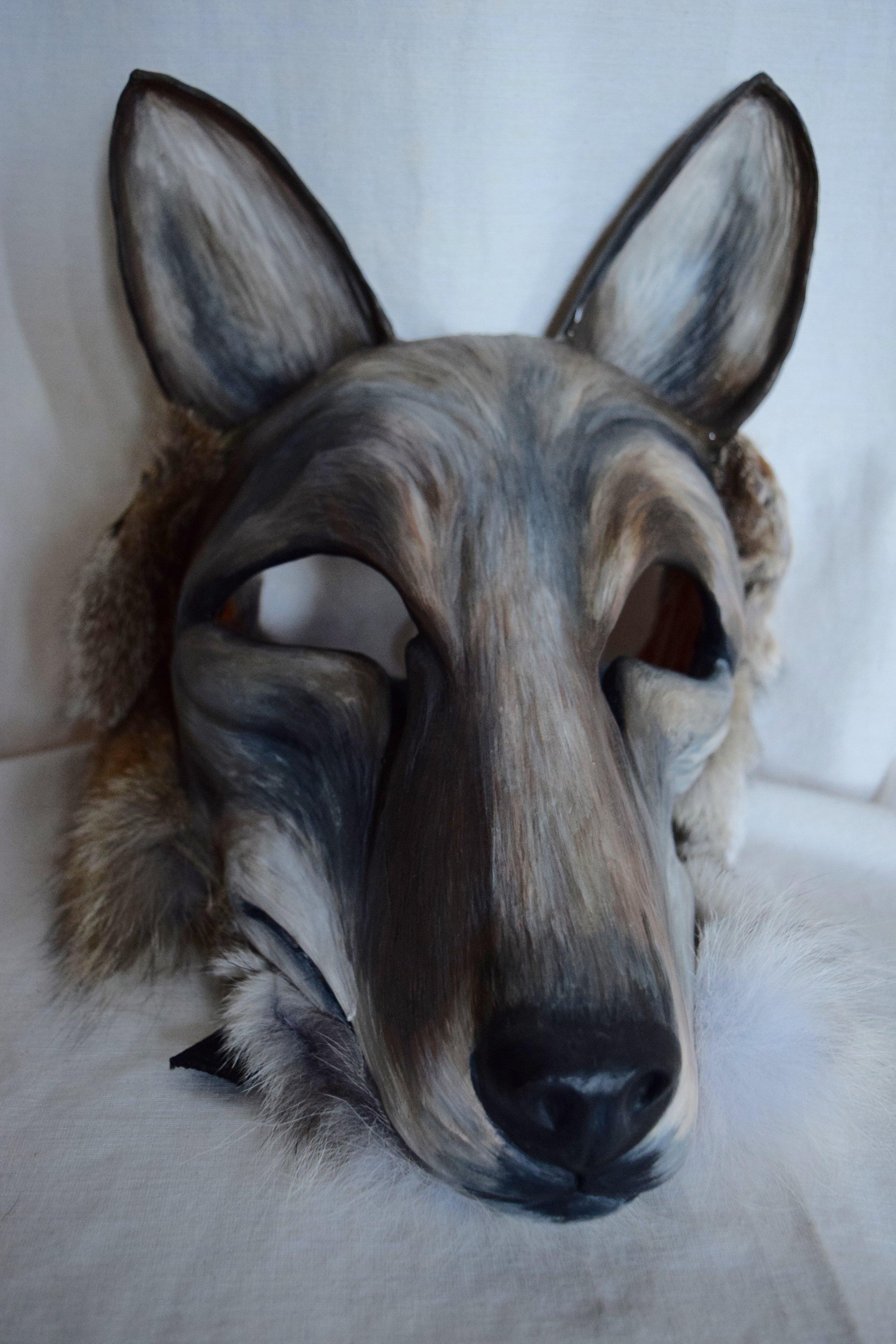 Coyote, 2015. Clay, roadkill coyote hide, acrylic