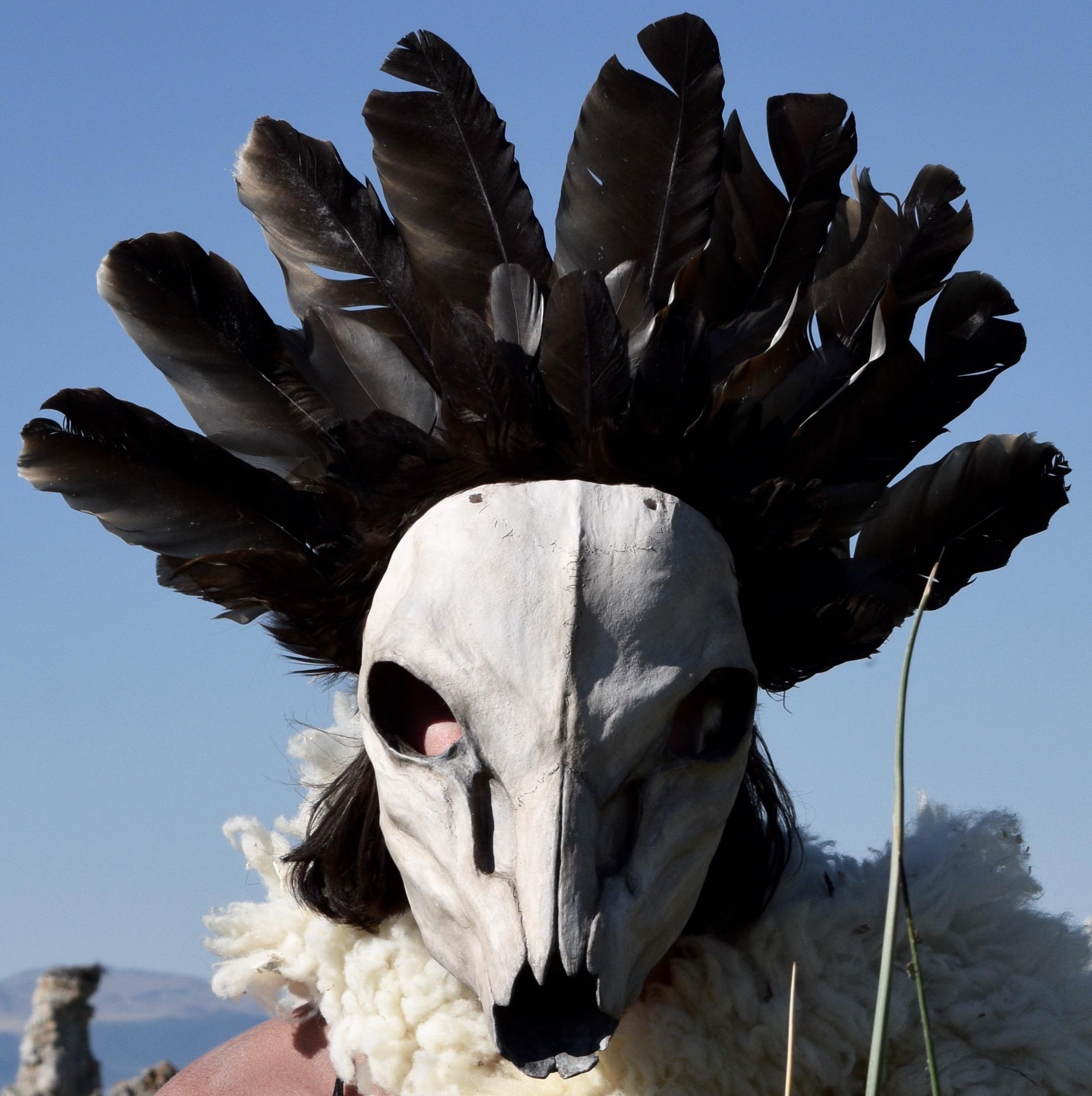 Desert Dream, 2016. Clay, rabbit hide, roadkill turkey vulture feather, acrylic