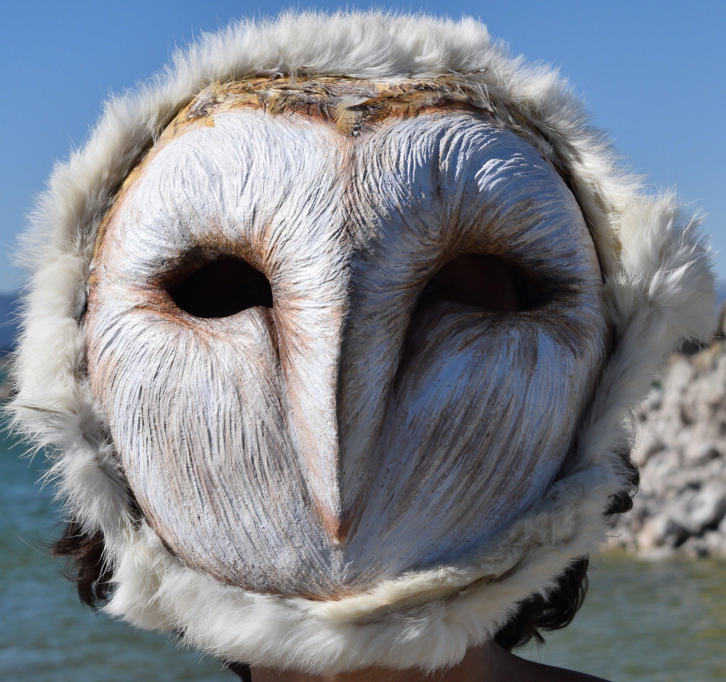 Barn Owl, 2016. Clay, roadkill barn owl feather, rabbit hide, acrylic  Sold