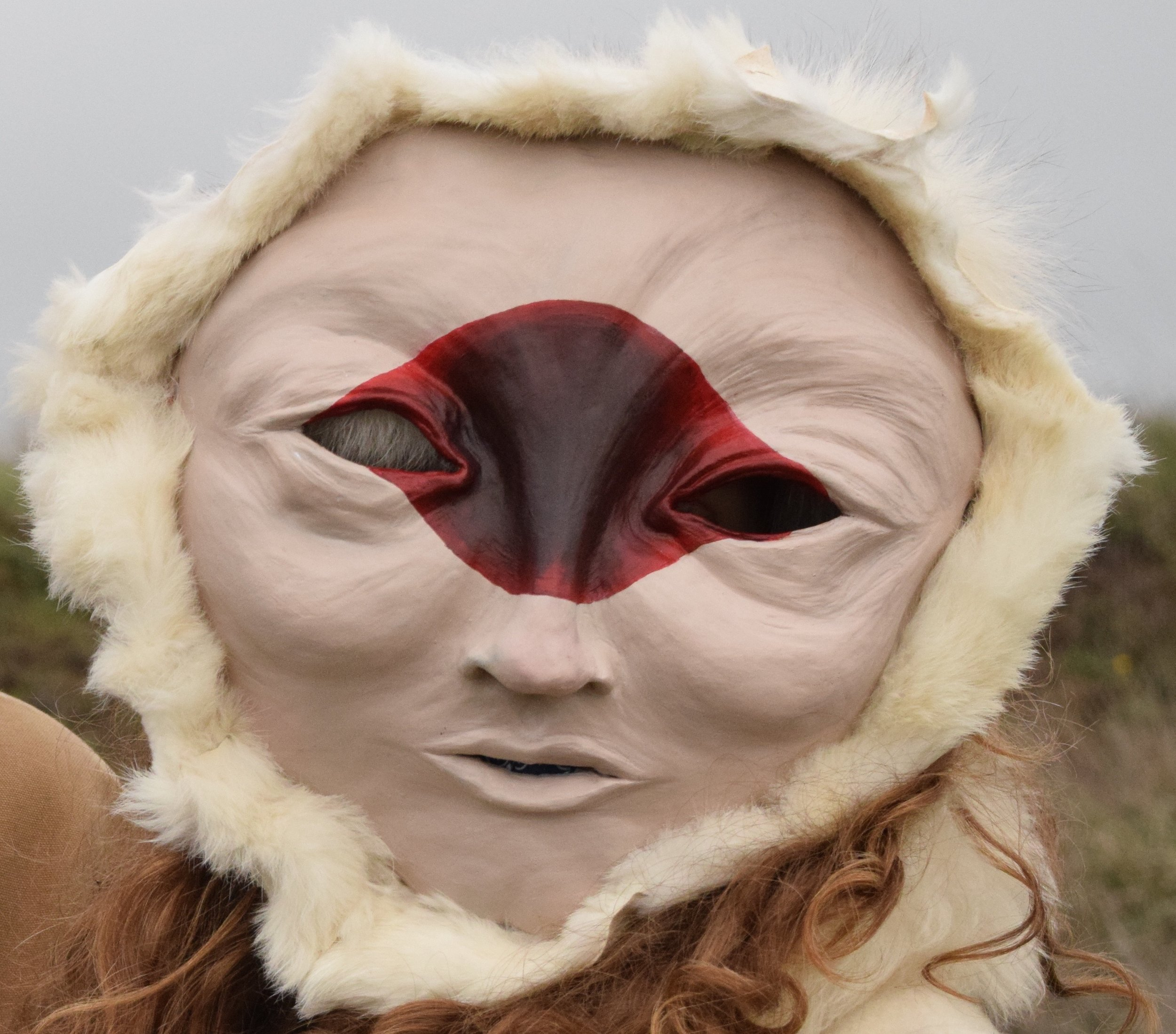 Moon Lady, 2014. Clay, rabbit hide, acrylic paint  Sold