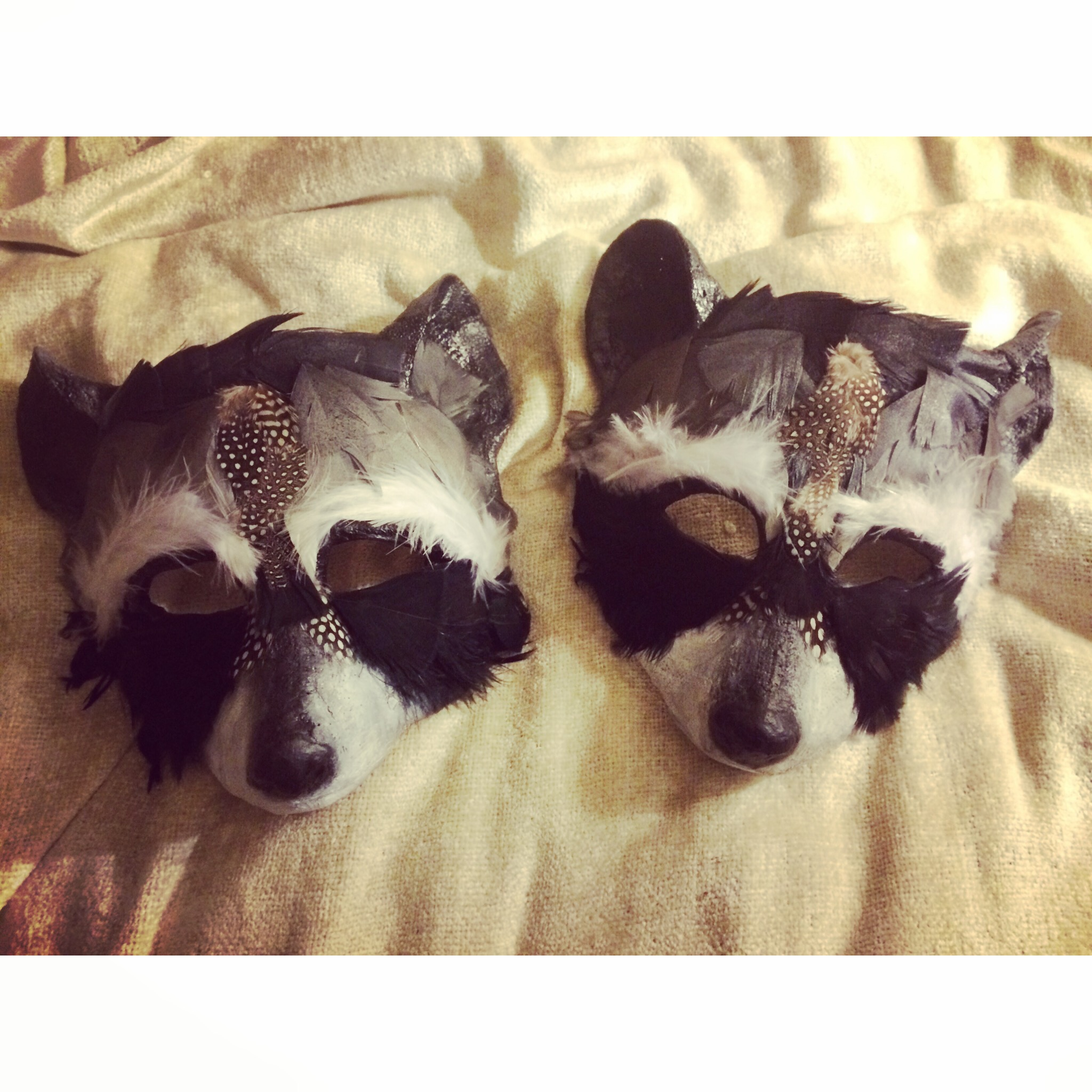 Raccoon Lovers, 2015. Plaster wrap, chicken feather, acrylic paint, gesso  Sold
