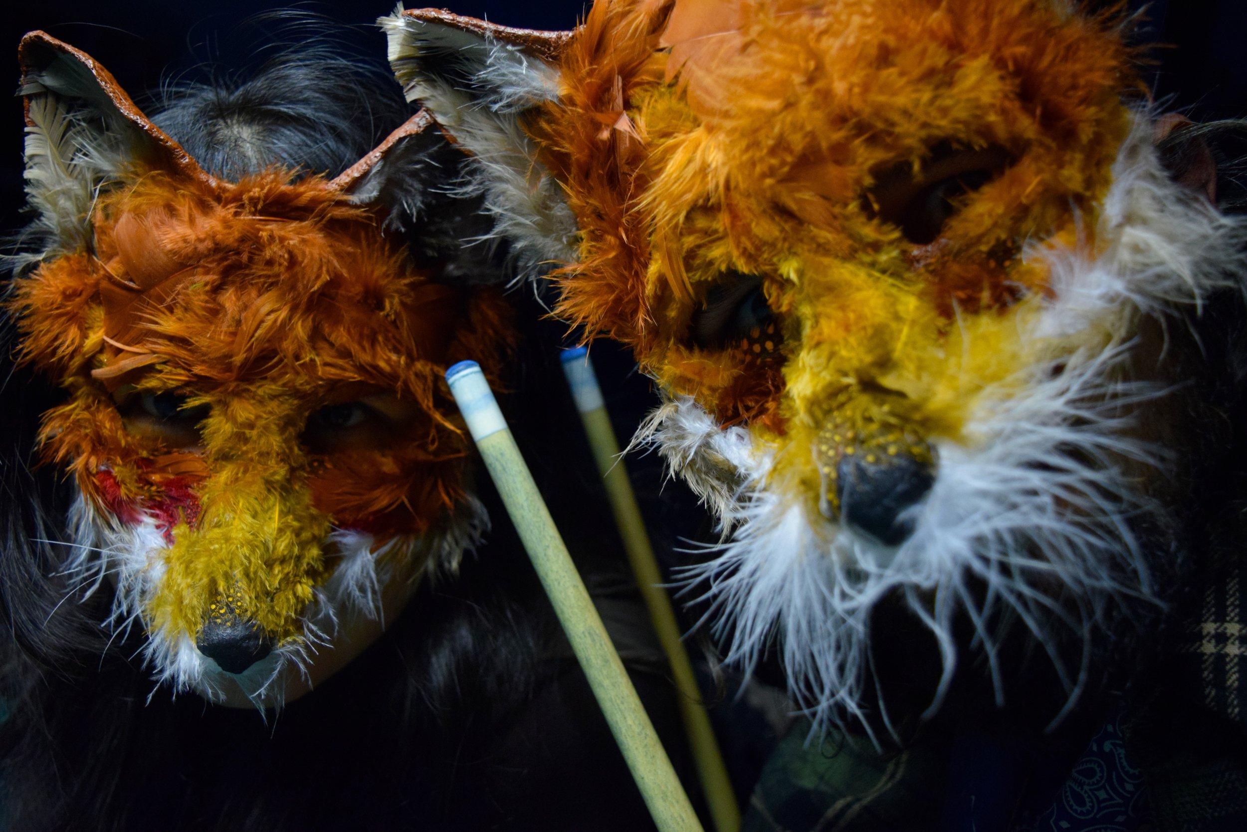 Foxy Lovers, 2014. Plaster, chicken feather, acrylic, gesso  Sold