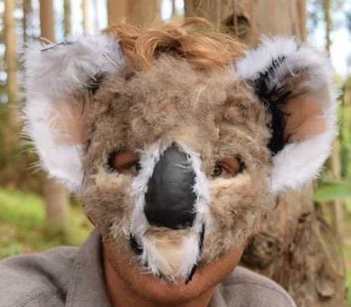 Koala, 2015. Plaster wrap, chicken feather, acrylic, gesso  Sold