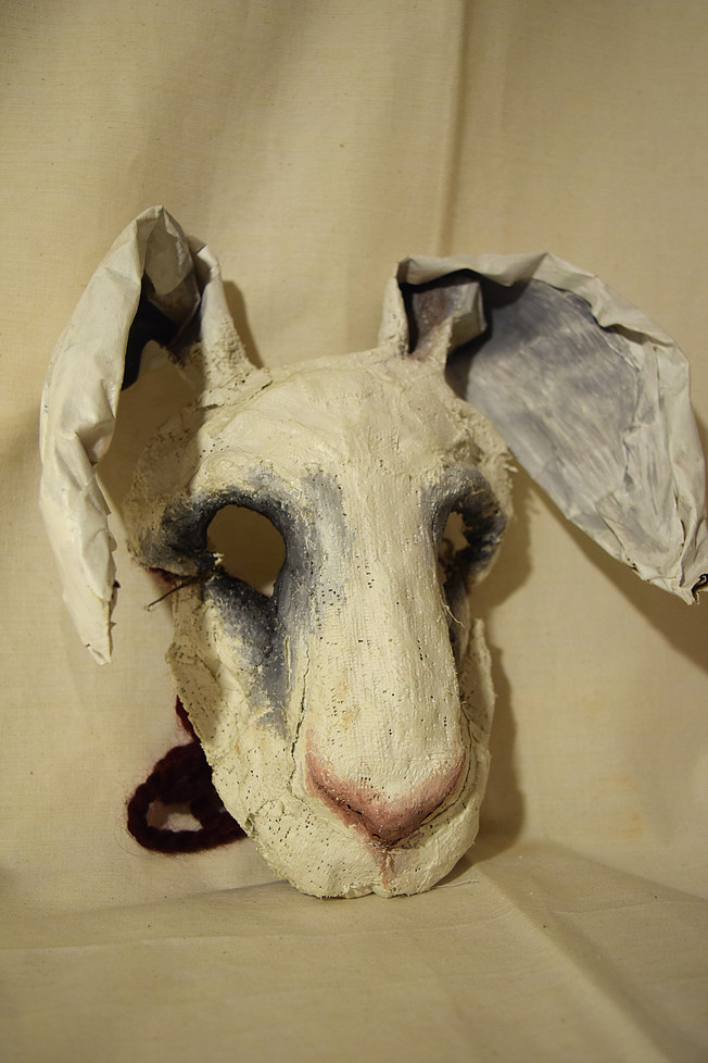 White Rabbit, 2012. Plaster, chicken feather, acrylic  Sold