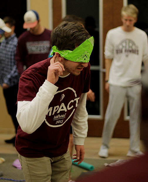 Caleb Sarber, 2017 Prayer Teamer, listens for instructions during a team building activity