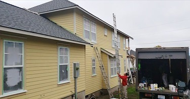 Exterior Residential paint job, swipe to see in progress photos. Look at that beautiful blue! . . . #rogerspaintgroup #residentialpainting #homepainting #exteriorpainting #homeimprovement #homeupdates #inprogress #paintlife