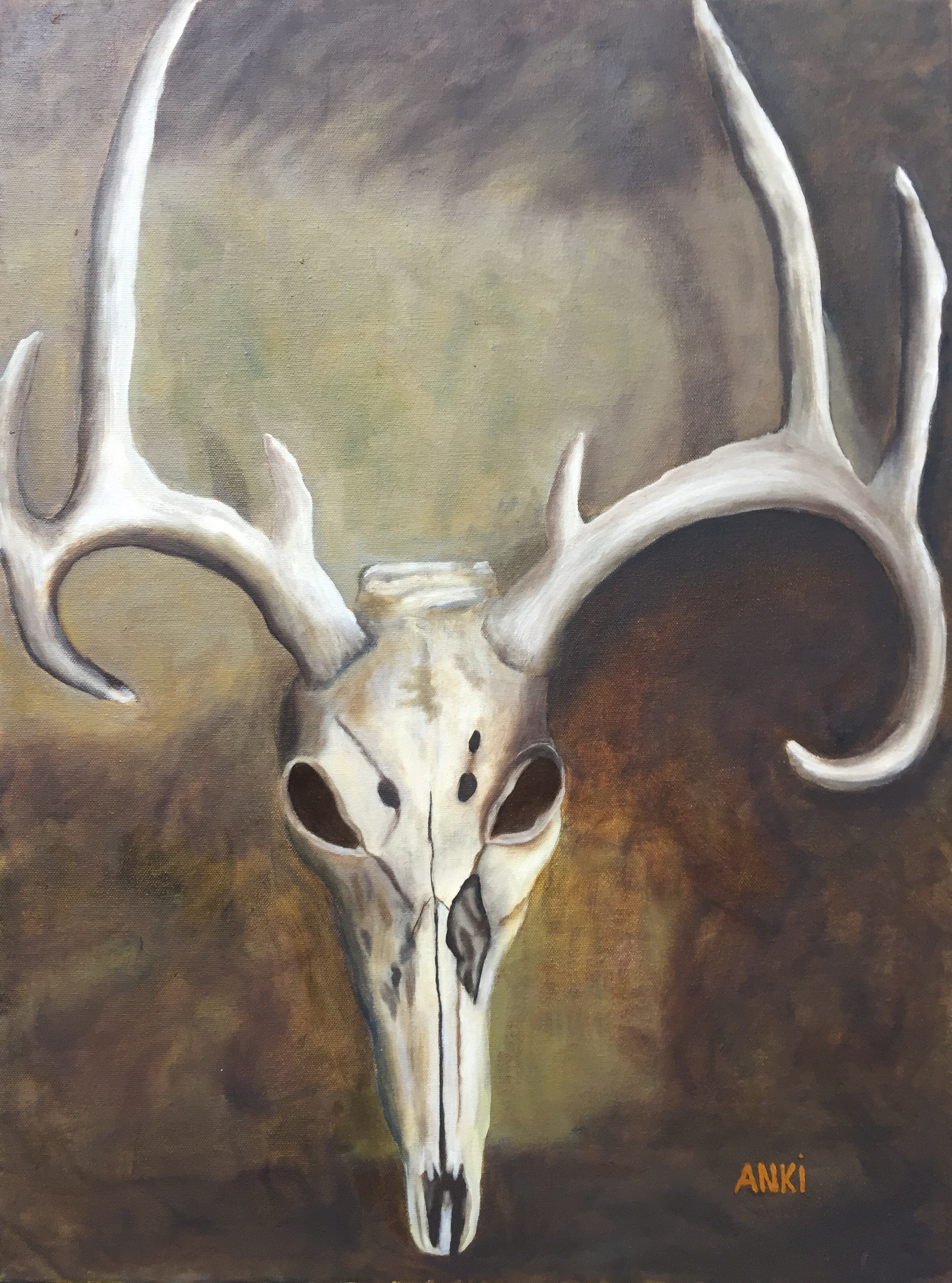 "Antlers, Oil on Canvas, 24""x20"""