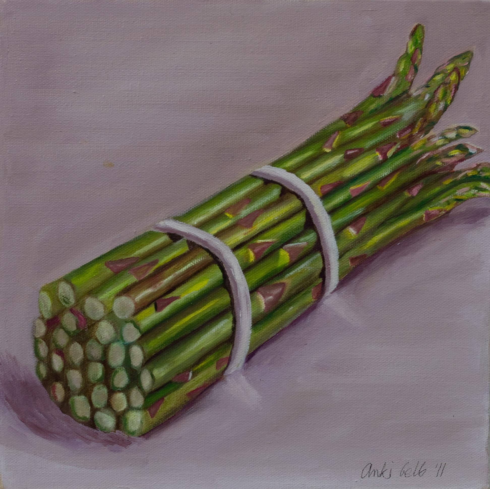 """Triptych: Artichoke, Asparagus, Garlic, Oil on Canvas, 12""""x12"""". Sold."""