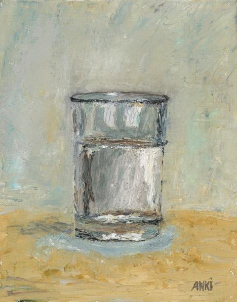 """Ett Glas Vatten, Oil on Board, 10""""x8"""" SOLD"""