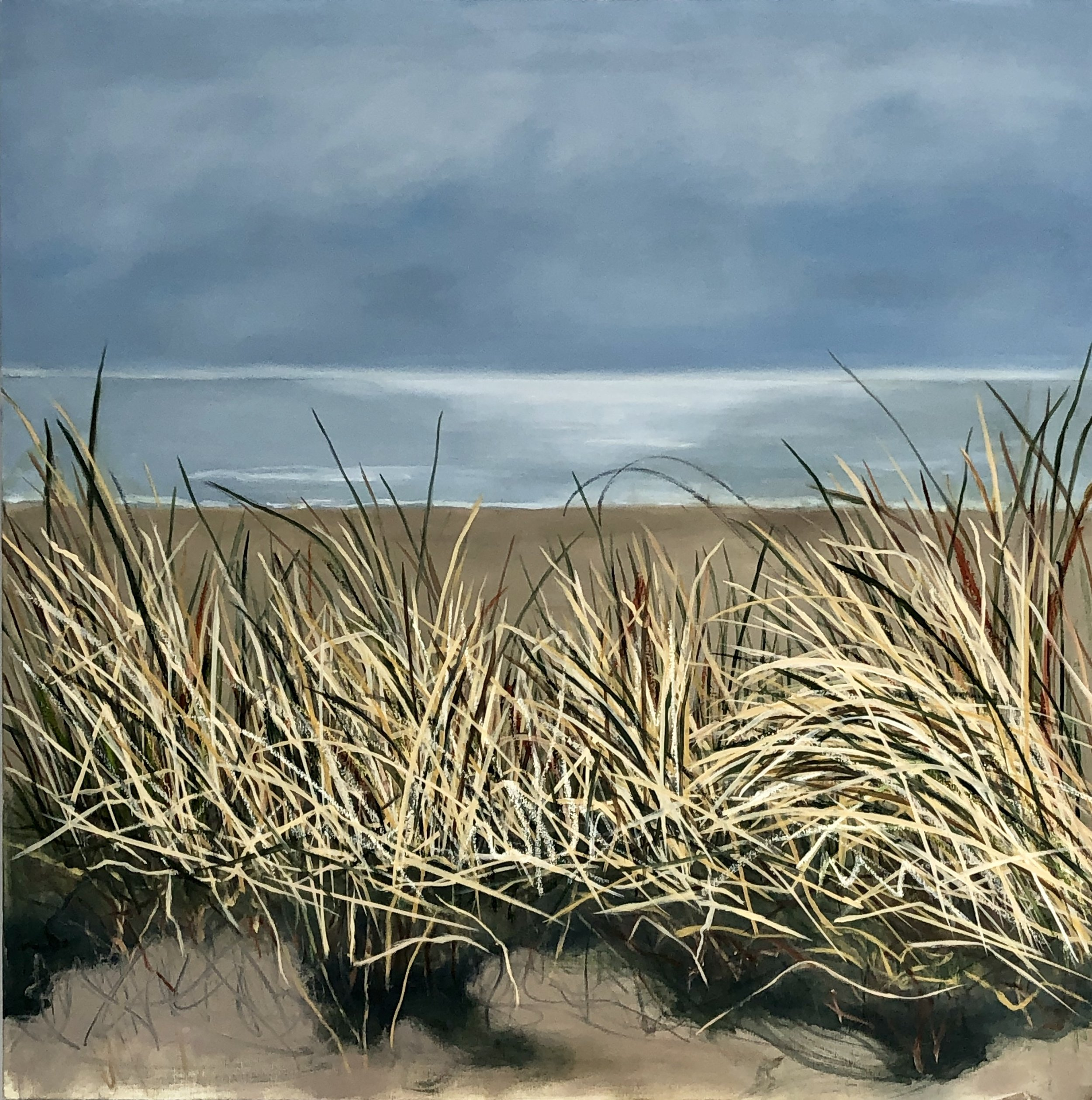 "Stinson Beach, Oil on Canvas, 36""x36"""