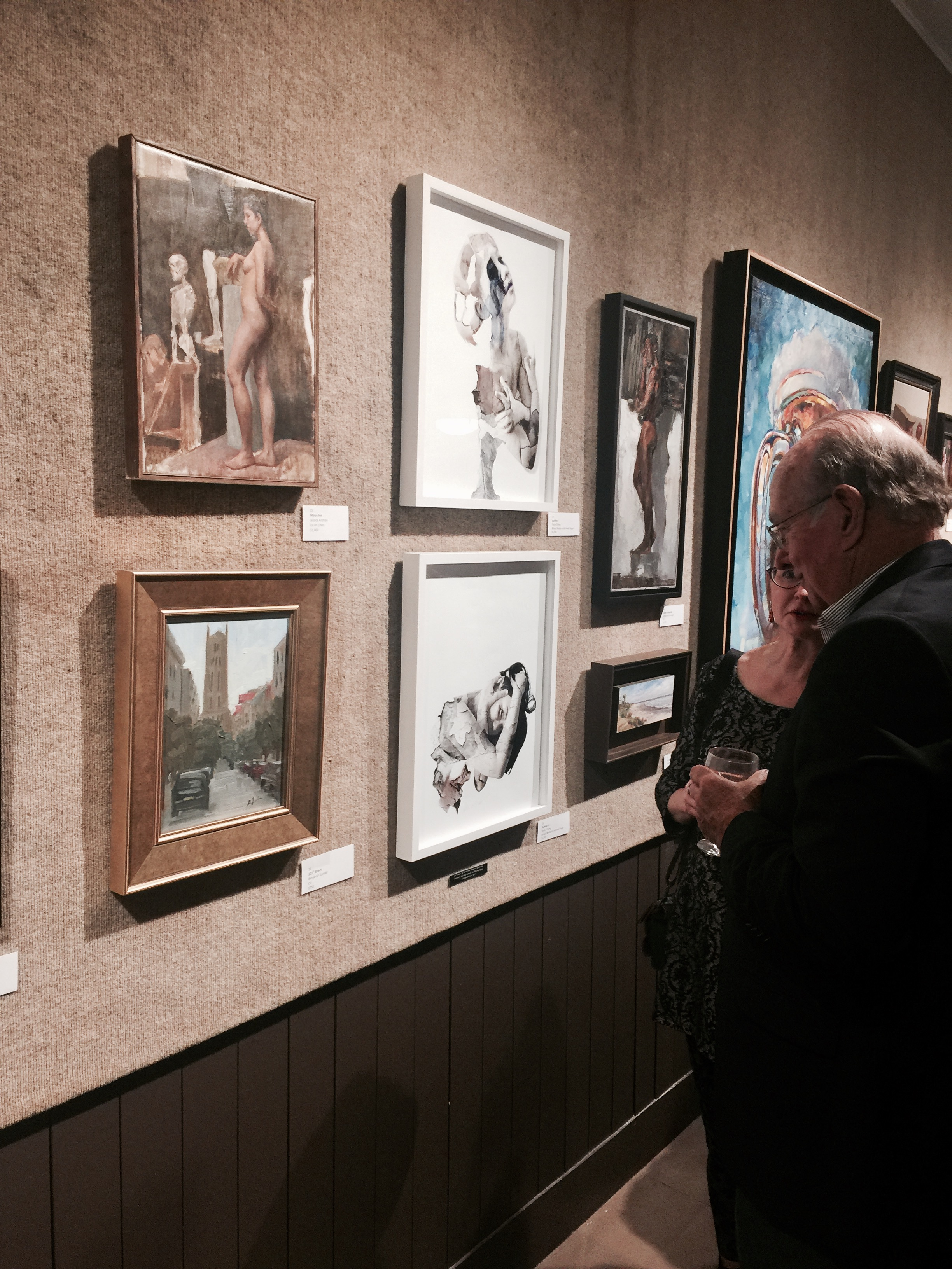 Artist Janet A Cook and ex. President of Salmagundi Club checking out Dukkha series.