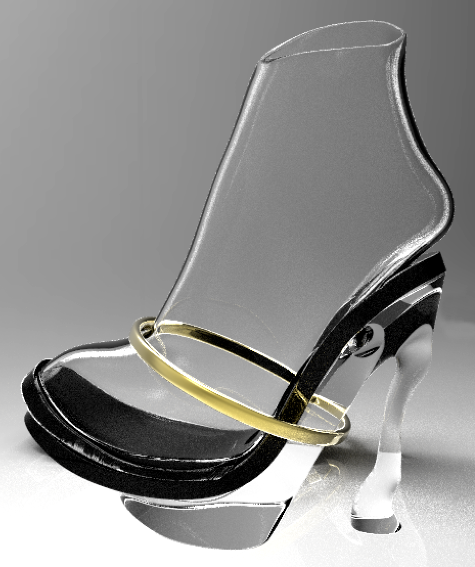 3D Rendering Side View: Metal bangle is moveable
